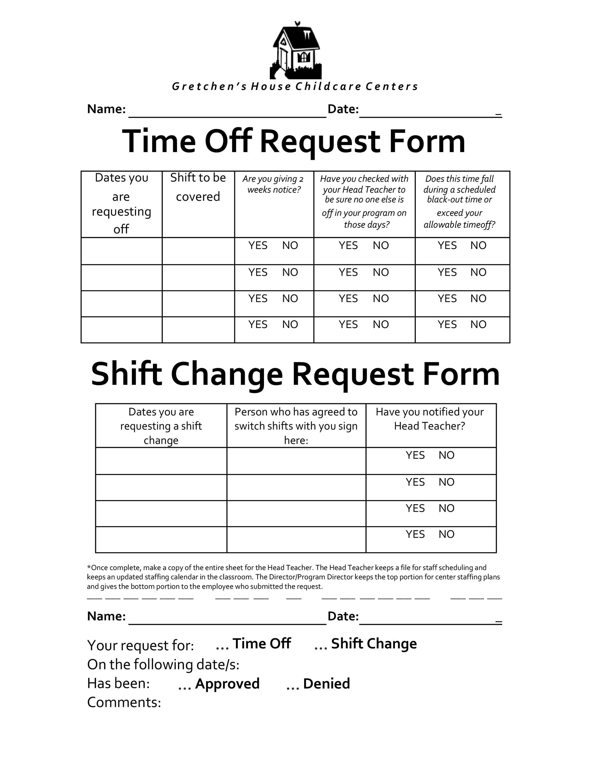 Time Off Request Forms Sample Time Off Request Form  Download