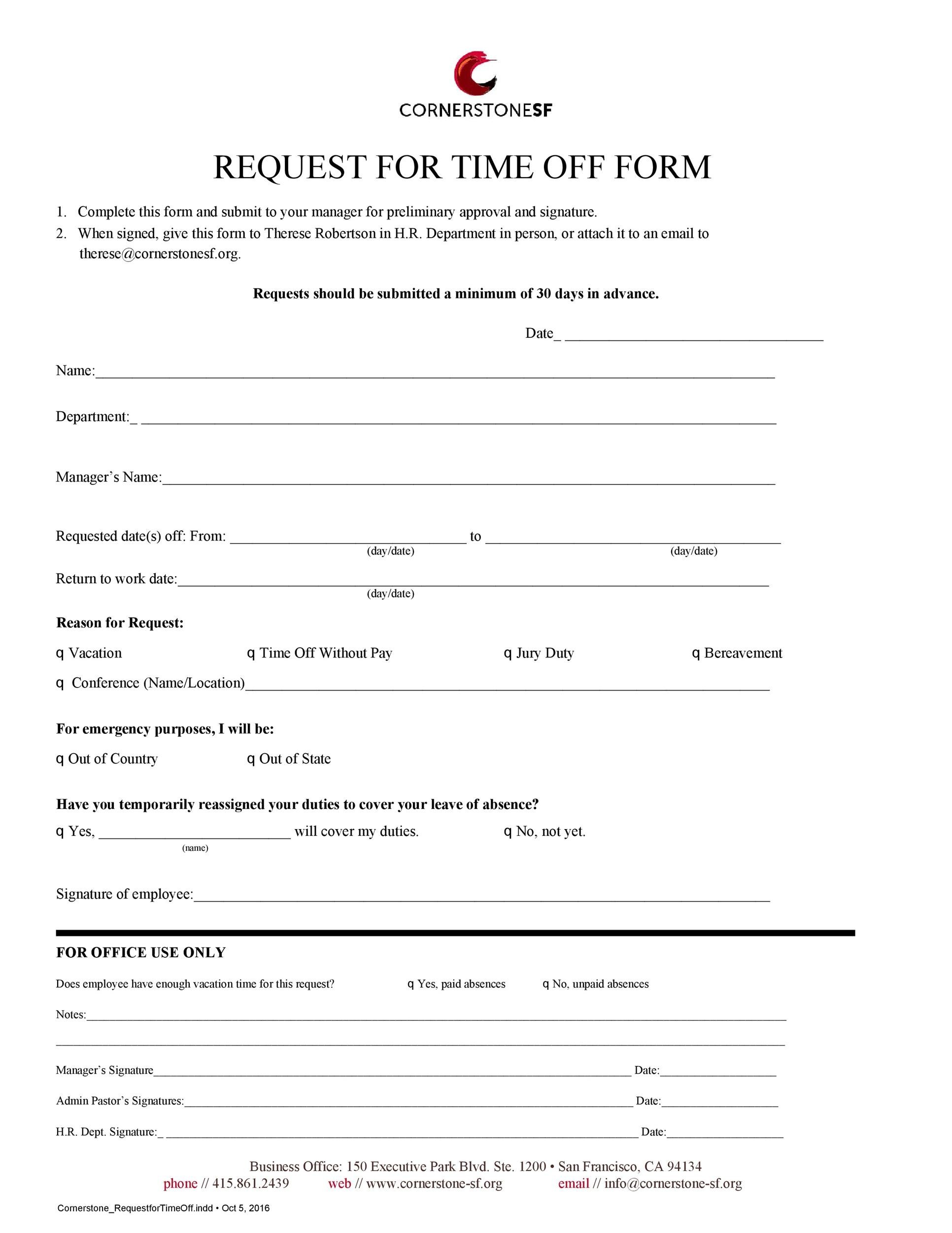 Free time off request form template 38