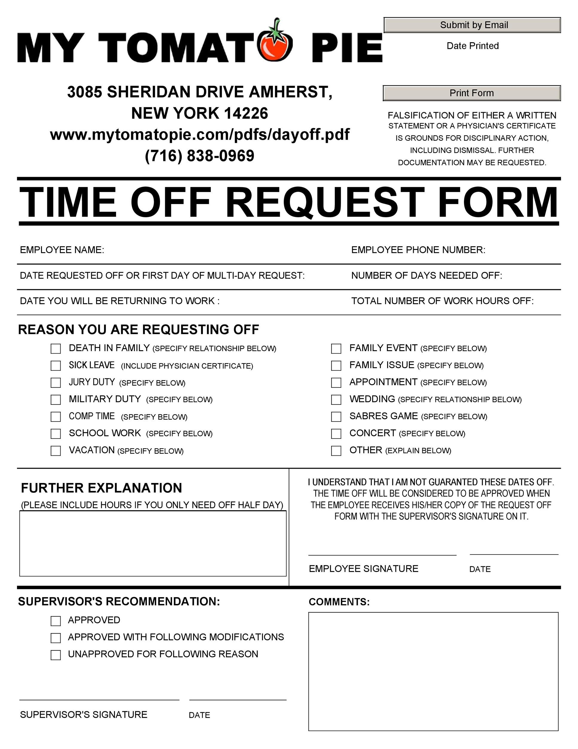 Printable Time Off Request Form Template 39