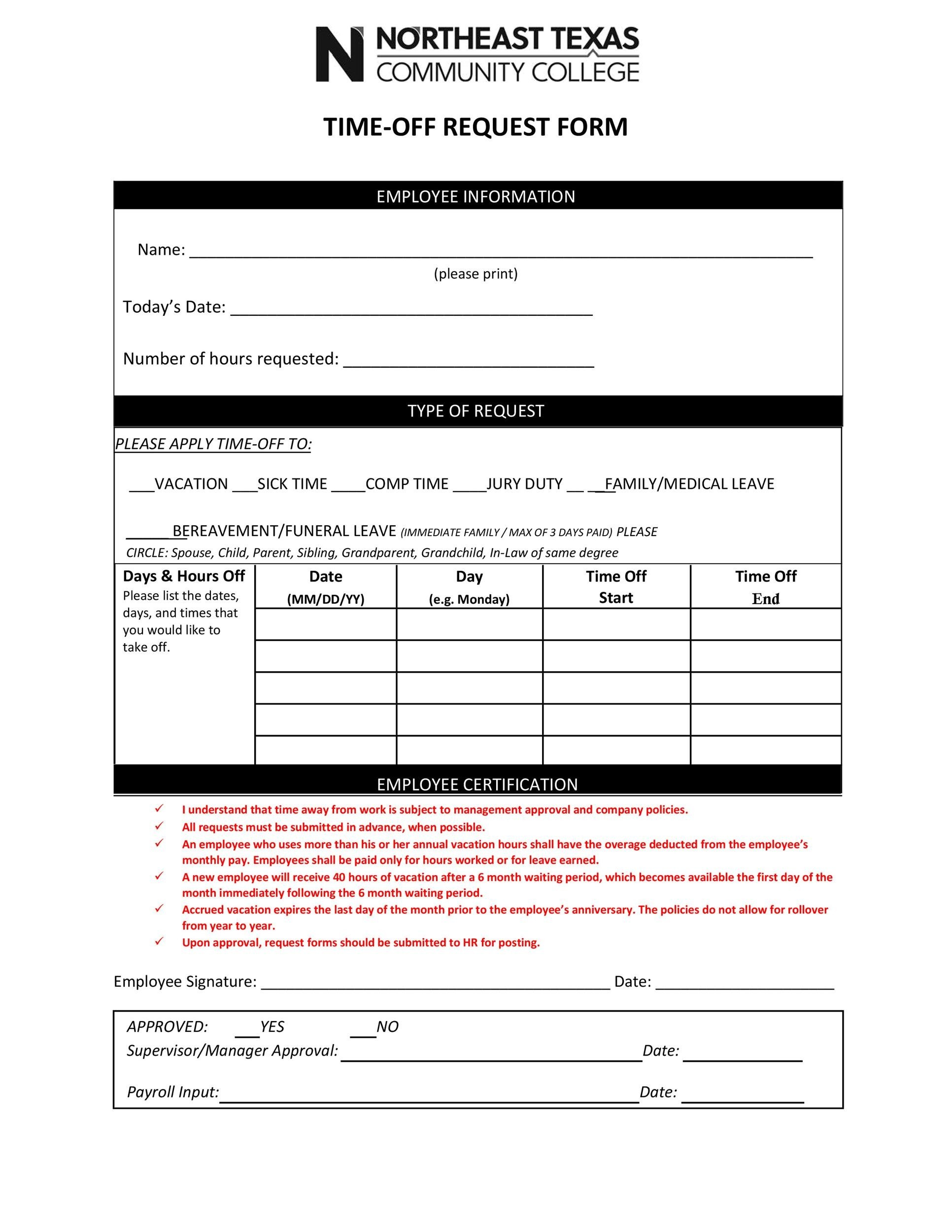 Free time off request form template 41