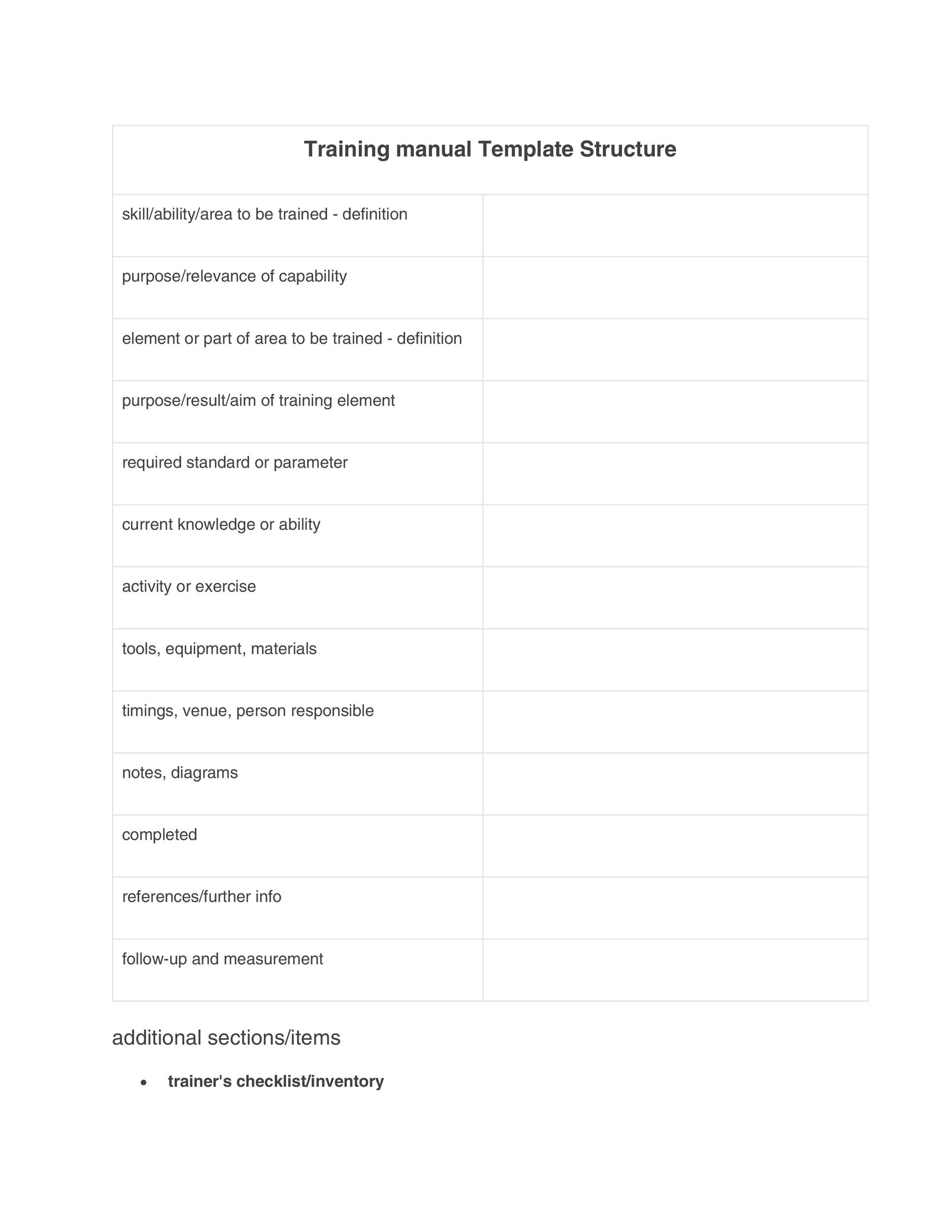 Printable Training Manual Template 04  Business Manual Templates