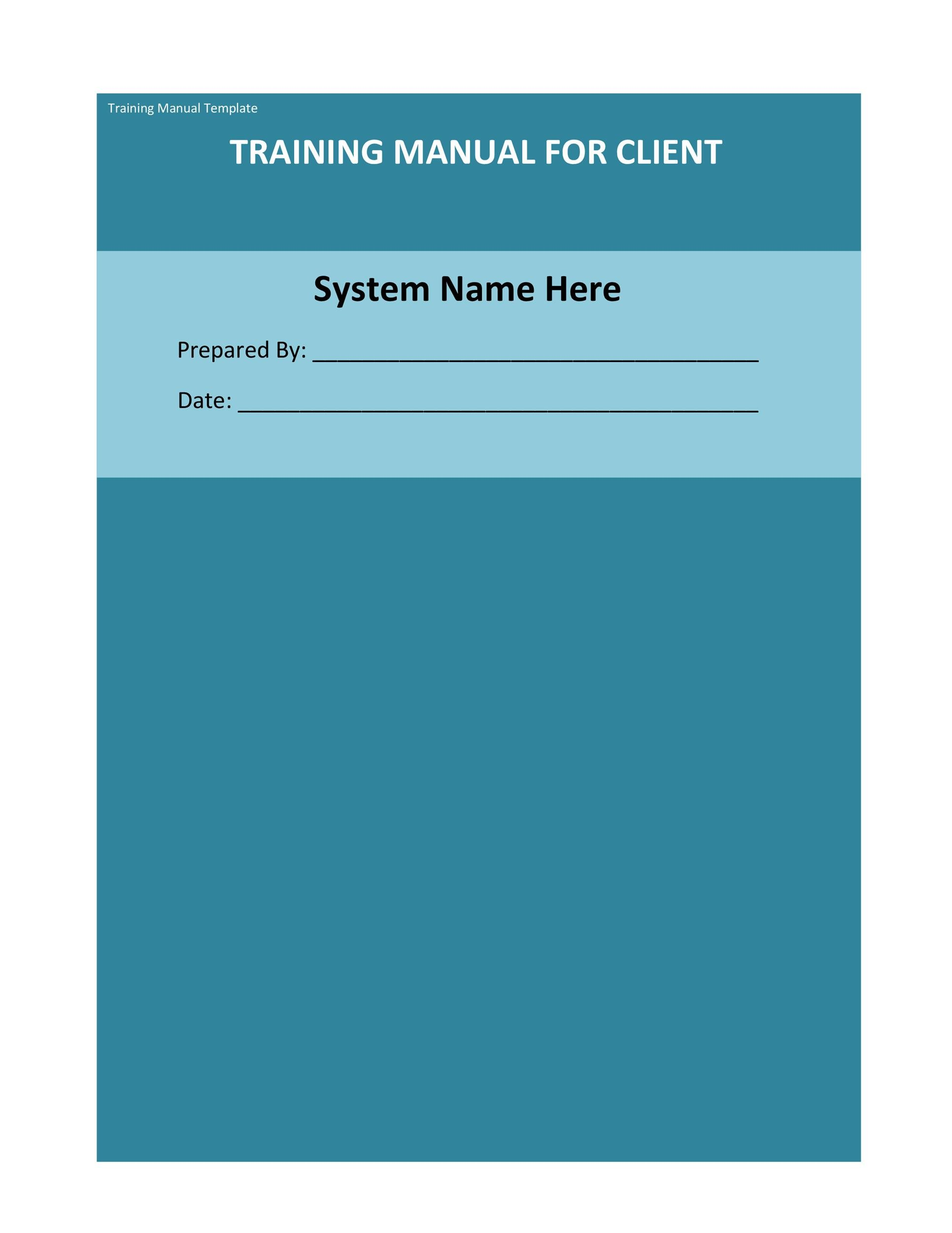 Printable Training Manual Template 06  Free Training Manual Templates