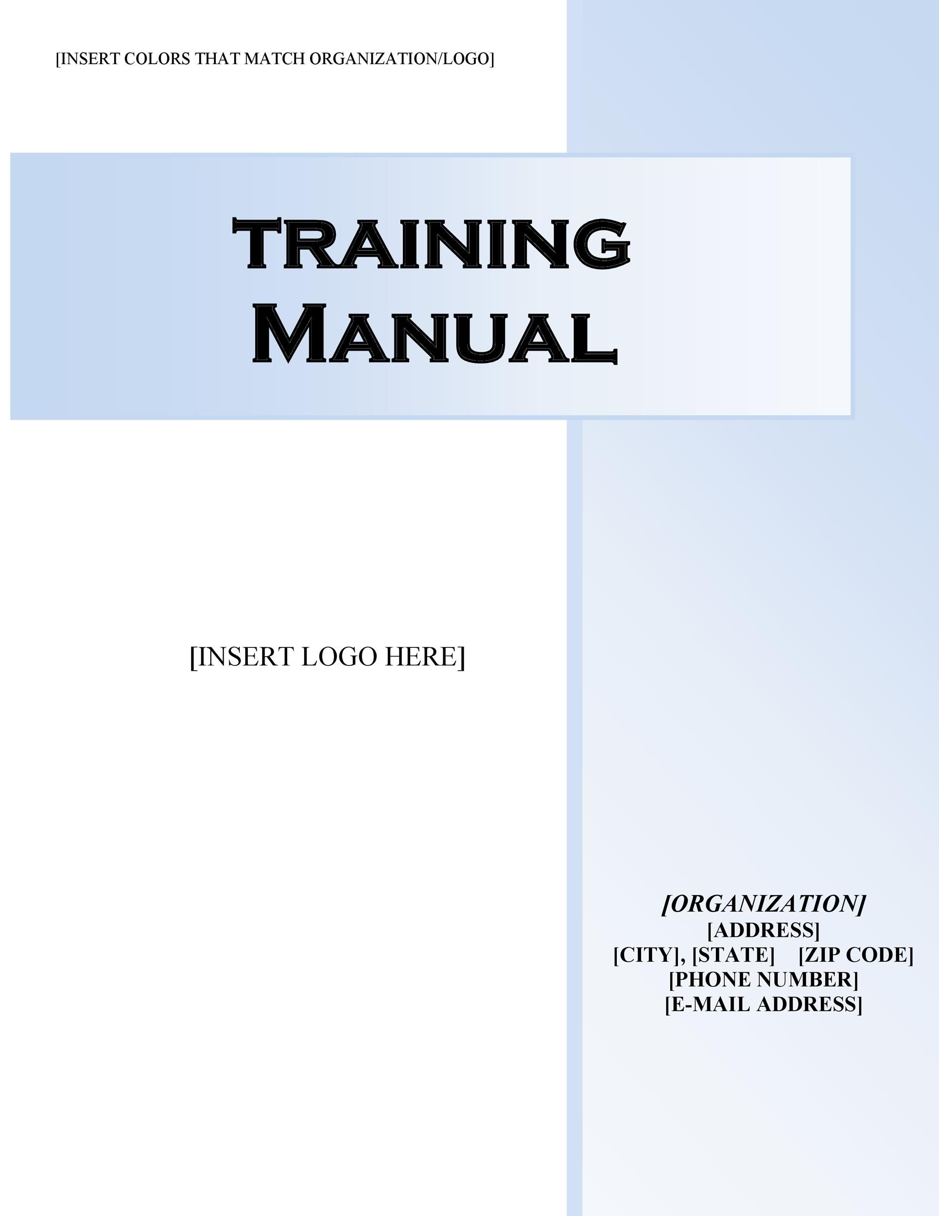 Printable Training Manual Template 09  Free Training Manual Templates