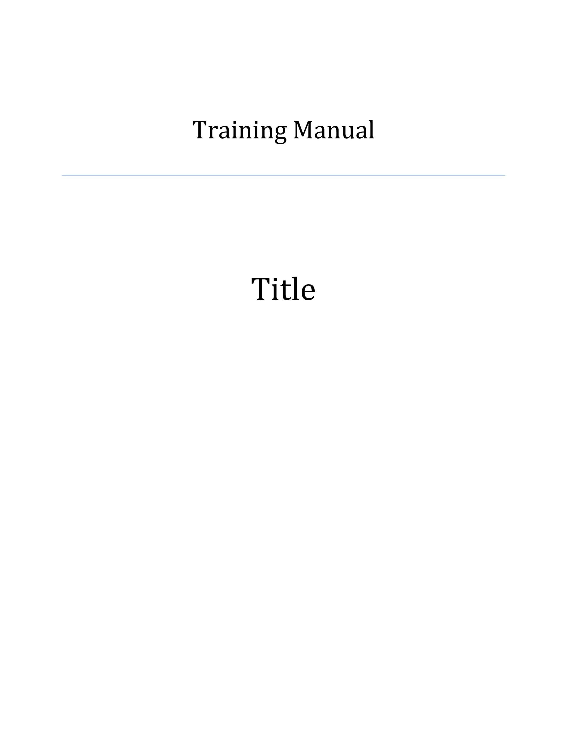Free training manual template 17