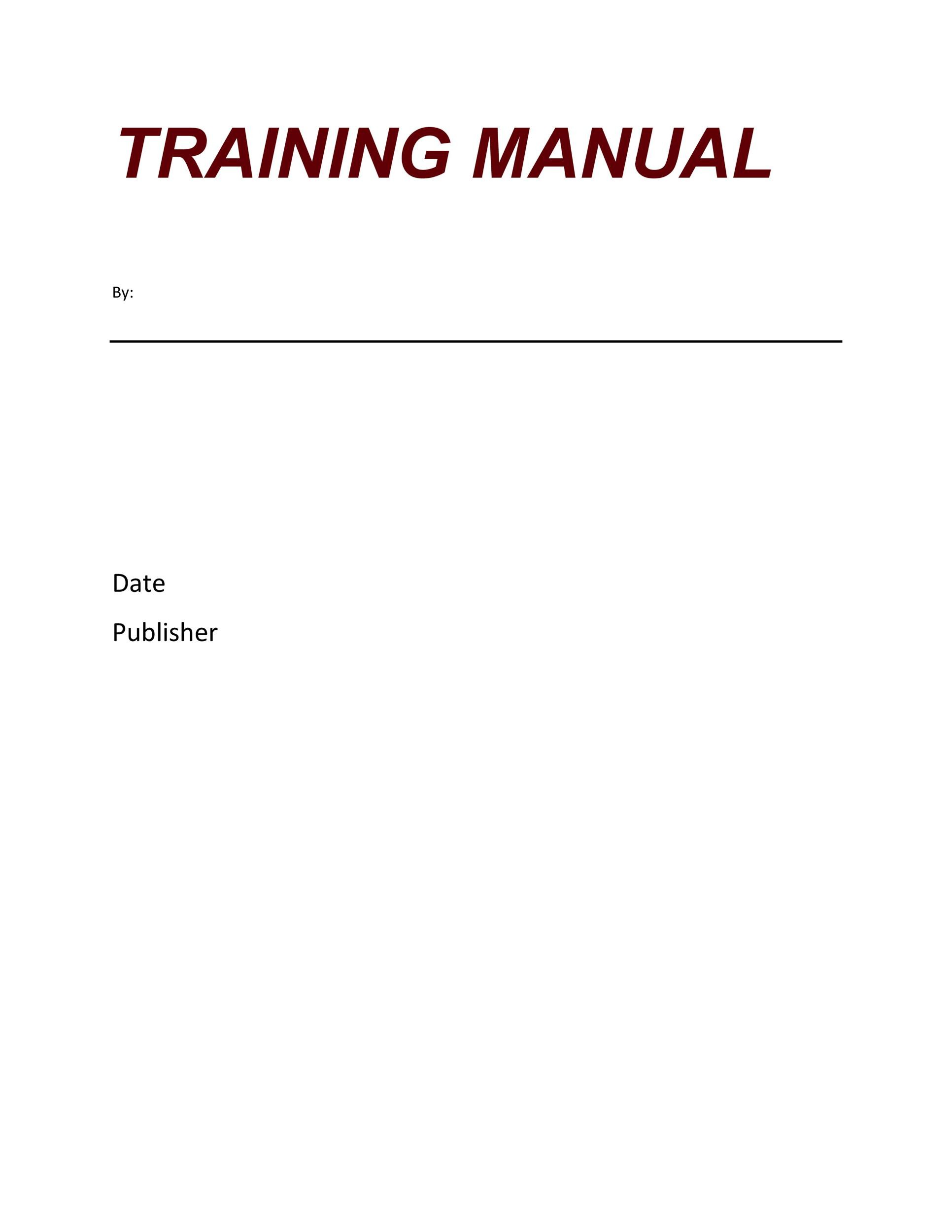 Free training manual template 21