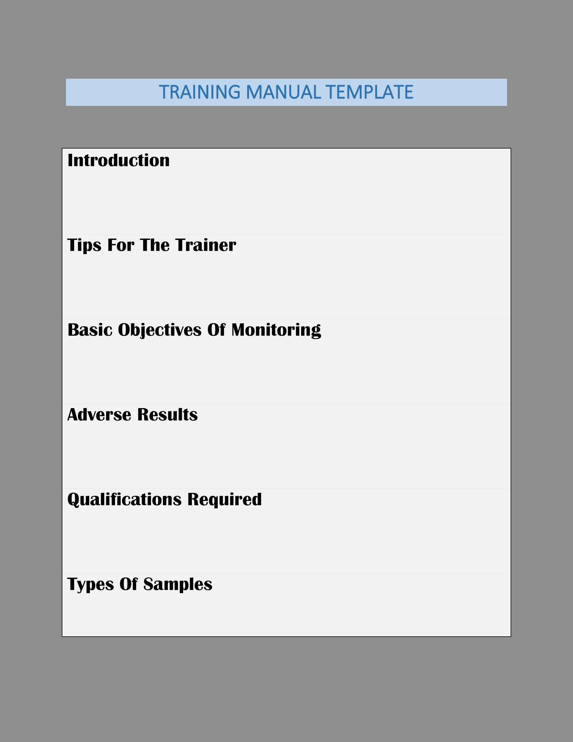 Free training manual template 25