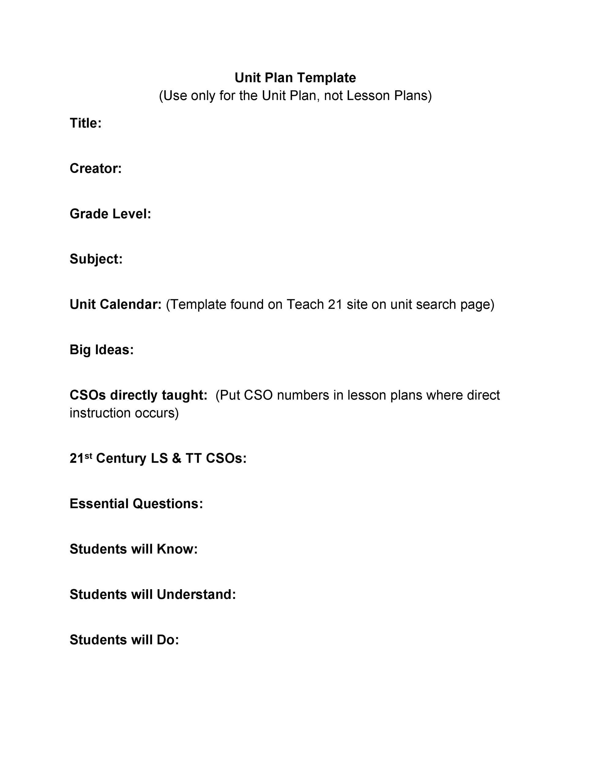 Free unit plan template 01