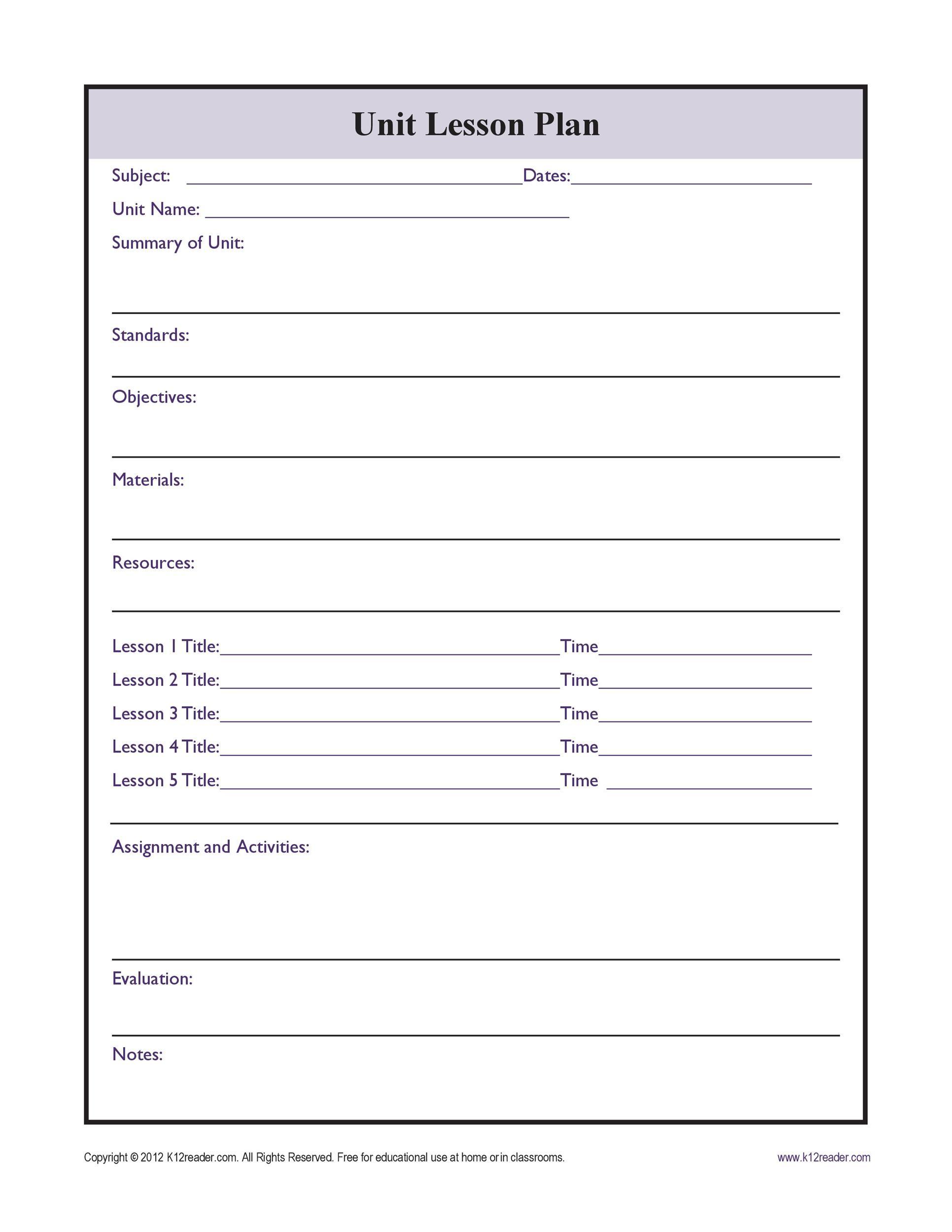 Free unit plan template 09