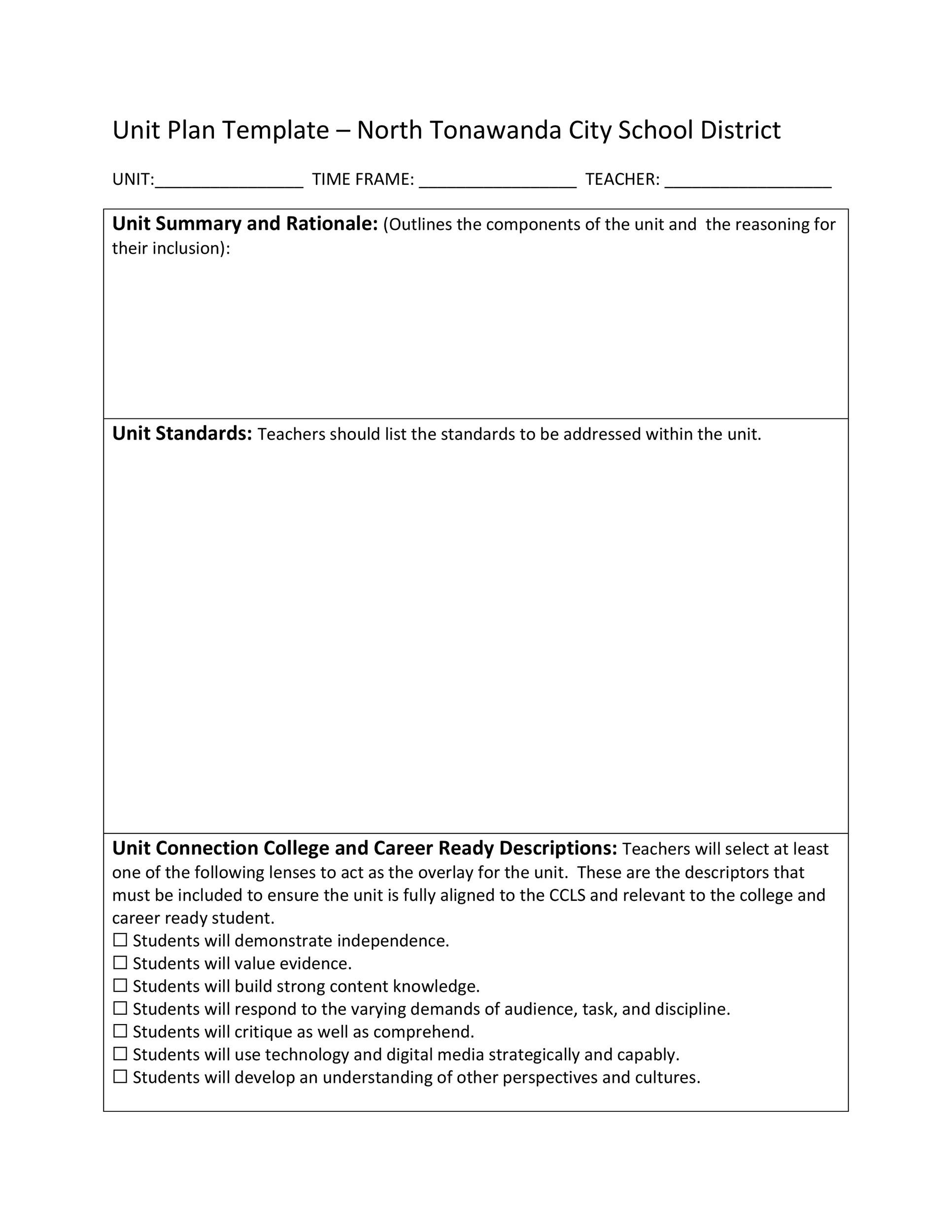 Free unit plan template 10