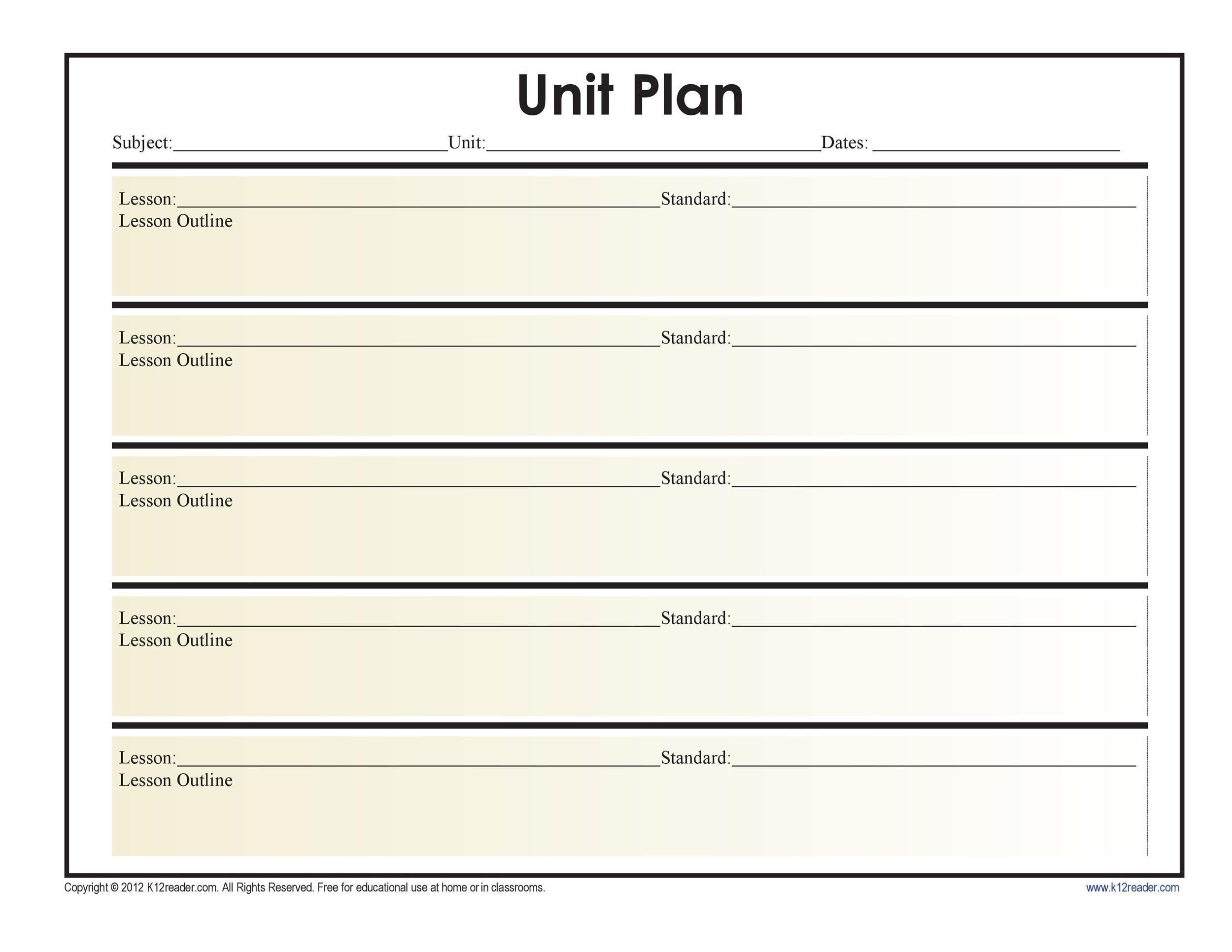 39 best unit plan templates word pdf template lab for Outline of a lesson plan template