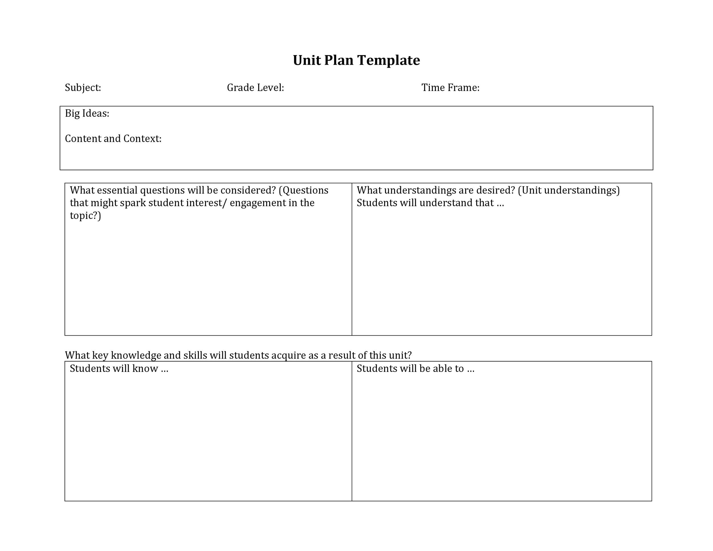 Free unit plan template 15