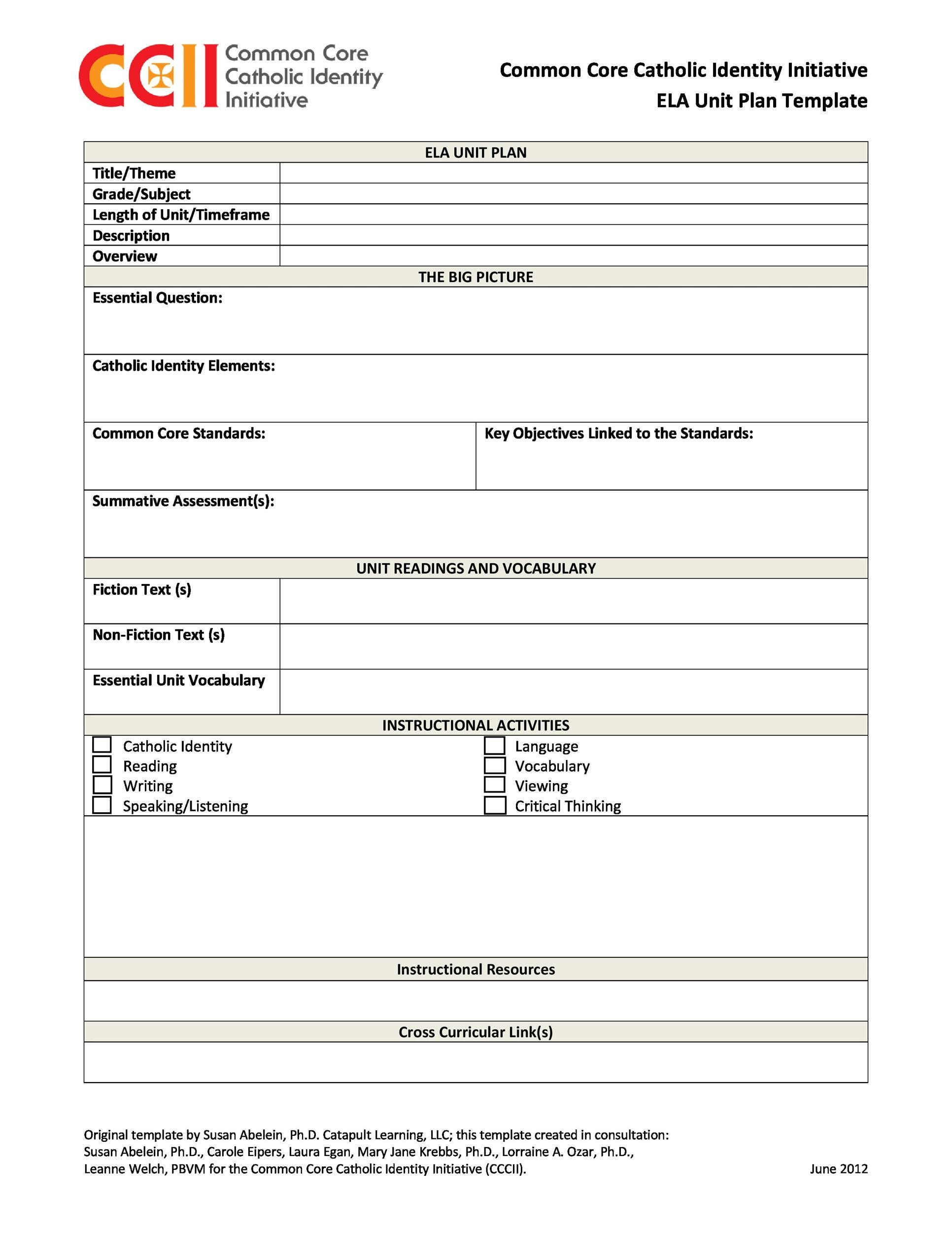 Best Unit Plan Templates Word Pdf  Template Lab