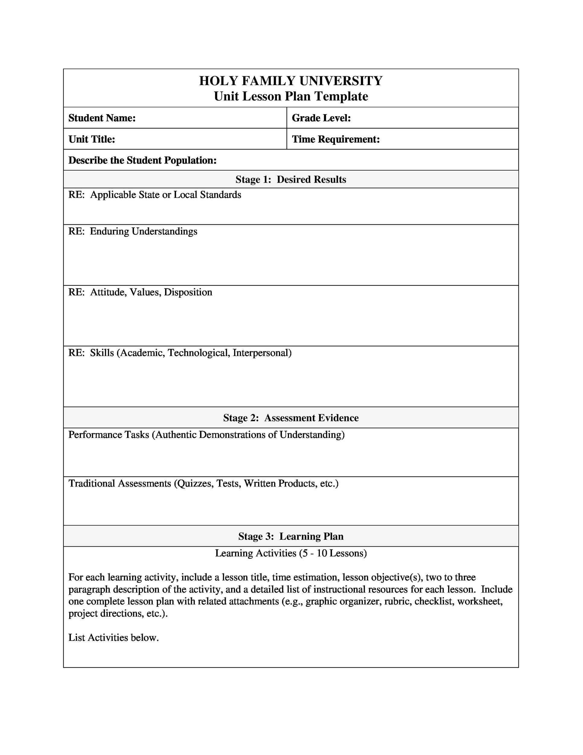 39 Best Unit Plan Templates Word Pdf Template Lab