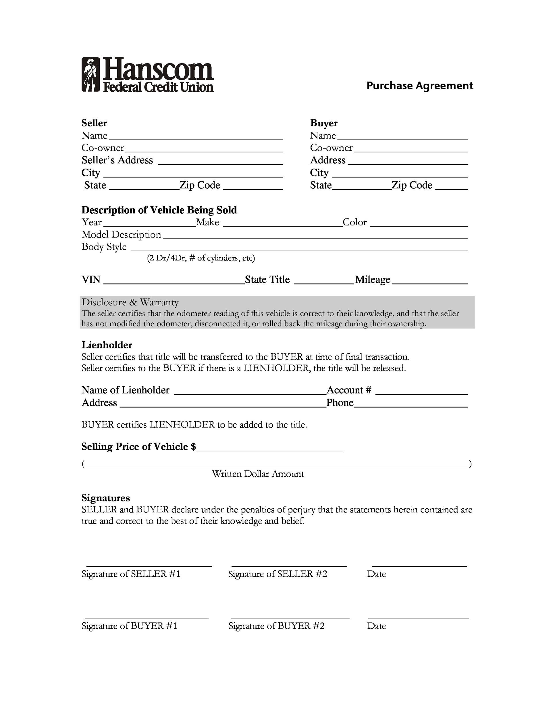 purchase agreement car 42 Printable Vehicle Purchase Agreement Templates - Template Lab
