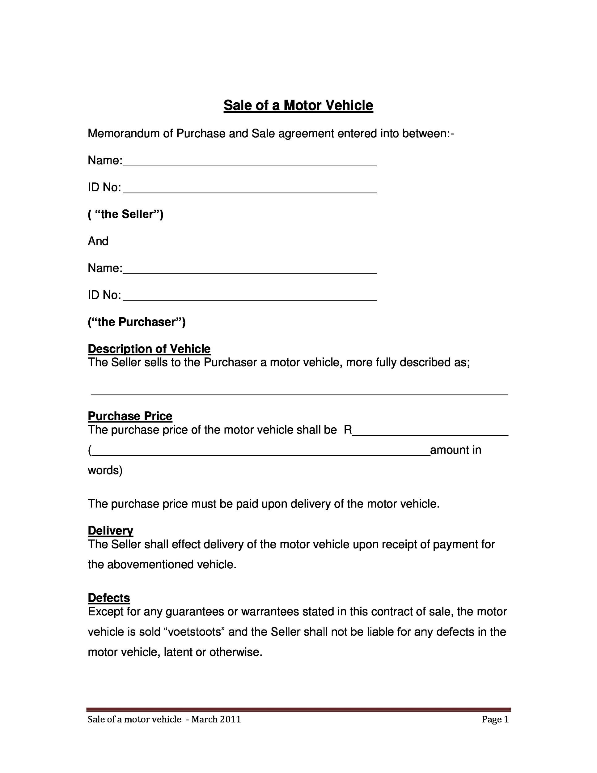 Marvelous Printable Vehicle Purchase Agreement 03 Intended For Car Purchase Agreement With Payments
