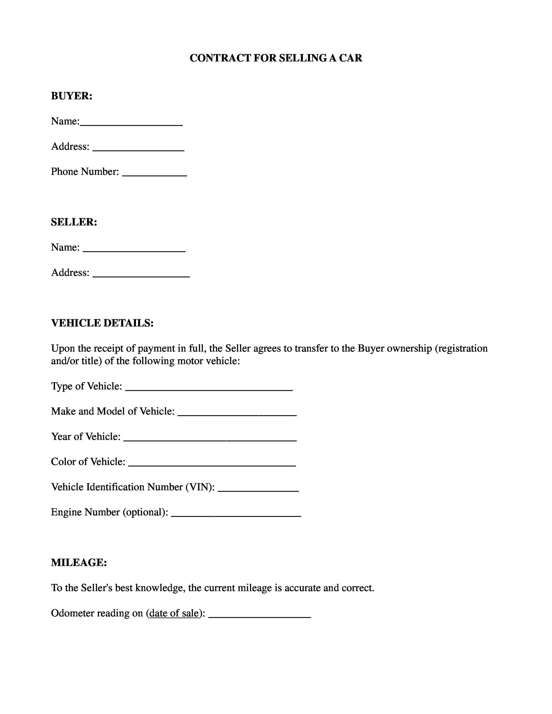 Printable Vehicle Purchase Agreement 04