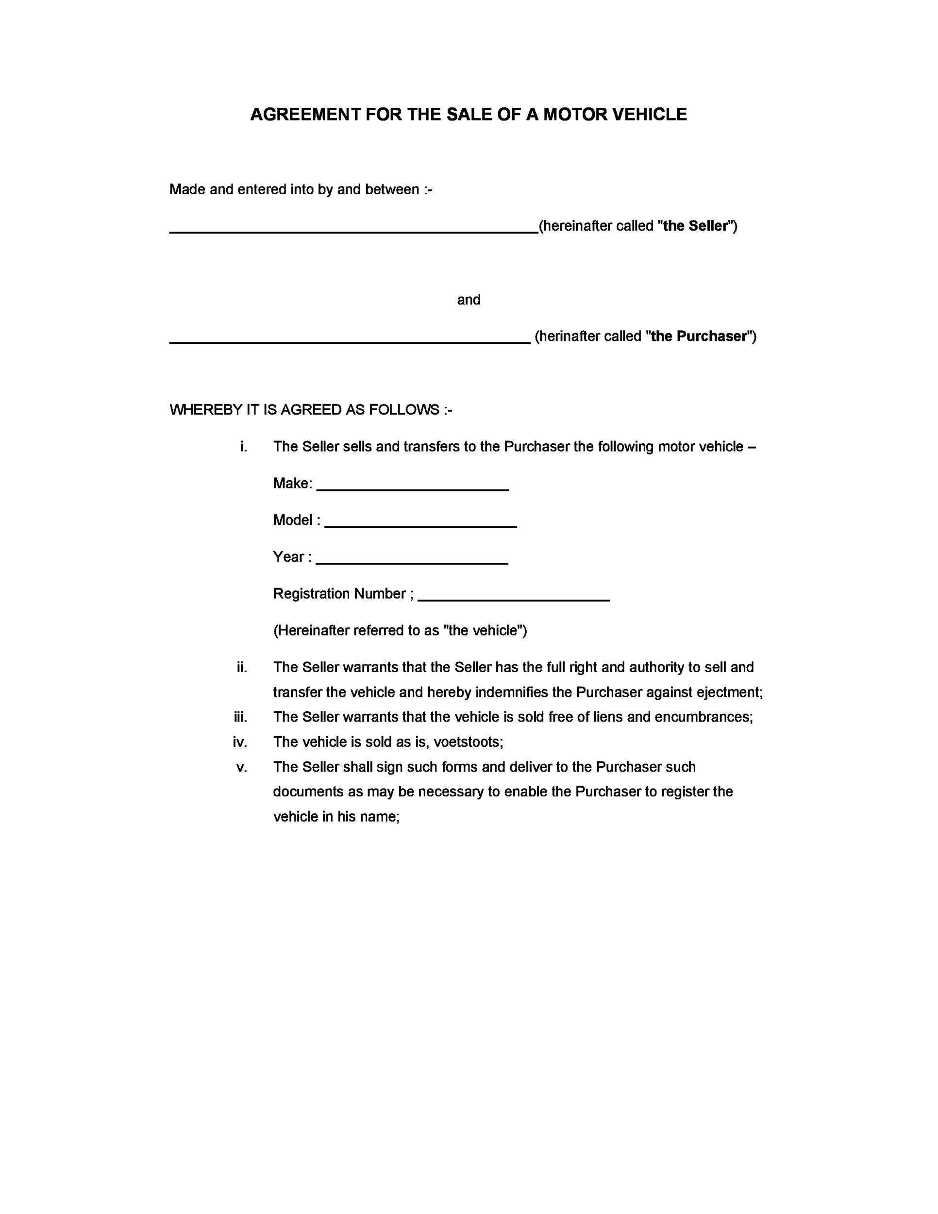 42 Printable Vehicle Purchase Agreement Templates ᐅ