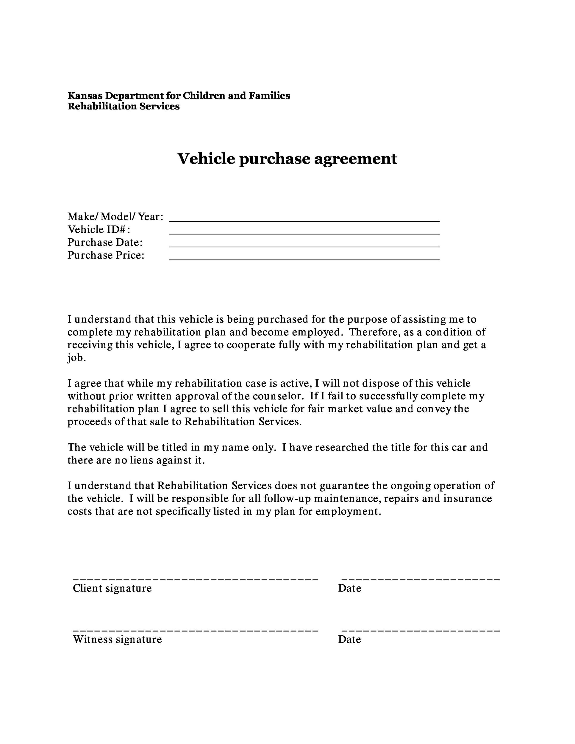 Printable Vehicle Purchase Agreement 07 Idea Auto Purchase Agreement