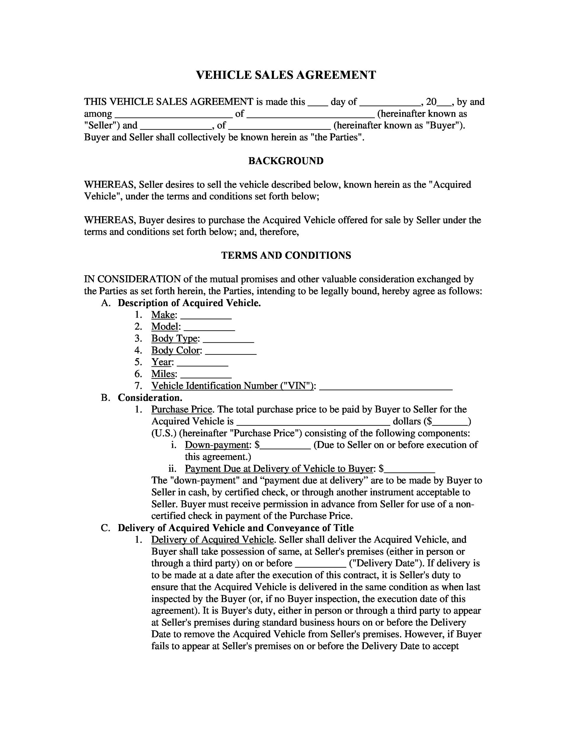 Printable Vehicle Purchase Agreement 09  Auto Purchase Agreement