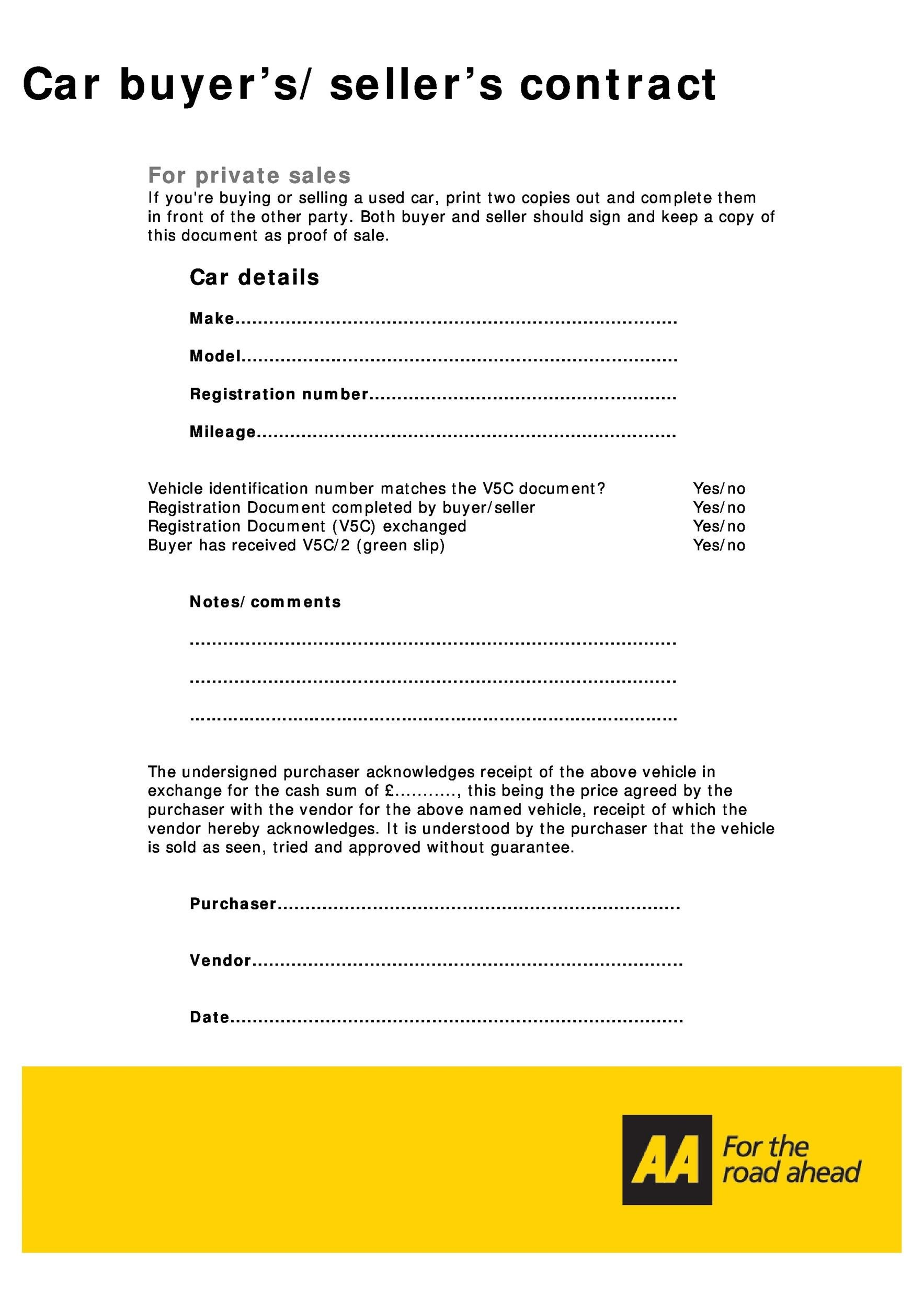 Printable Vehicle Purchase Agreement 10
