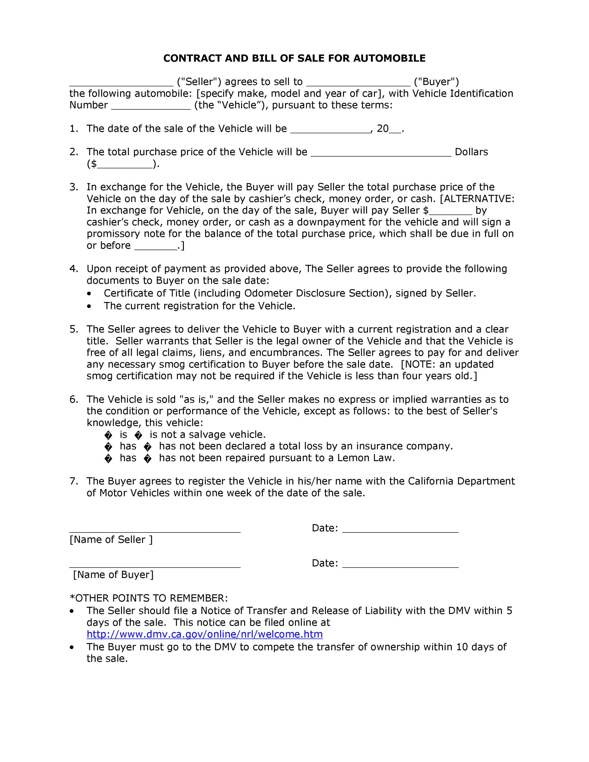 Printable Vehicle Purchase Agreement 11  Private Car Sale Contract Payments