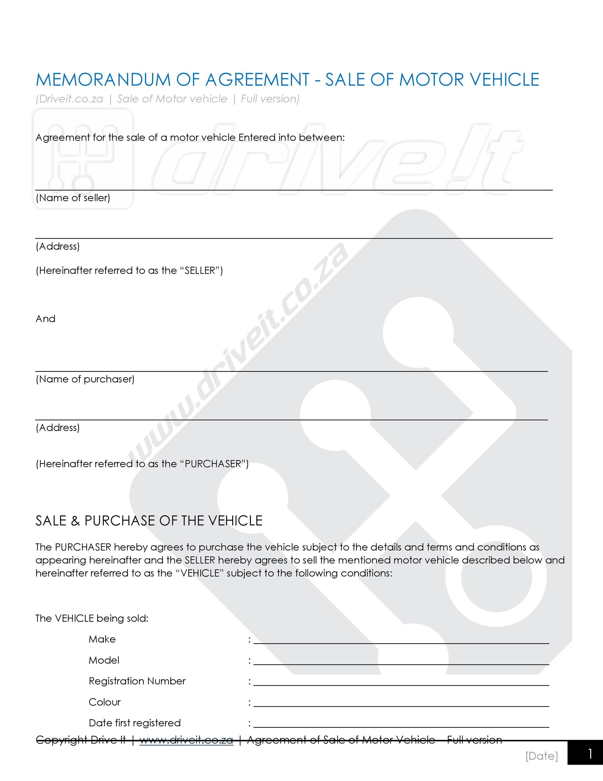 Free vehicle purchase agreement 14