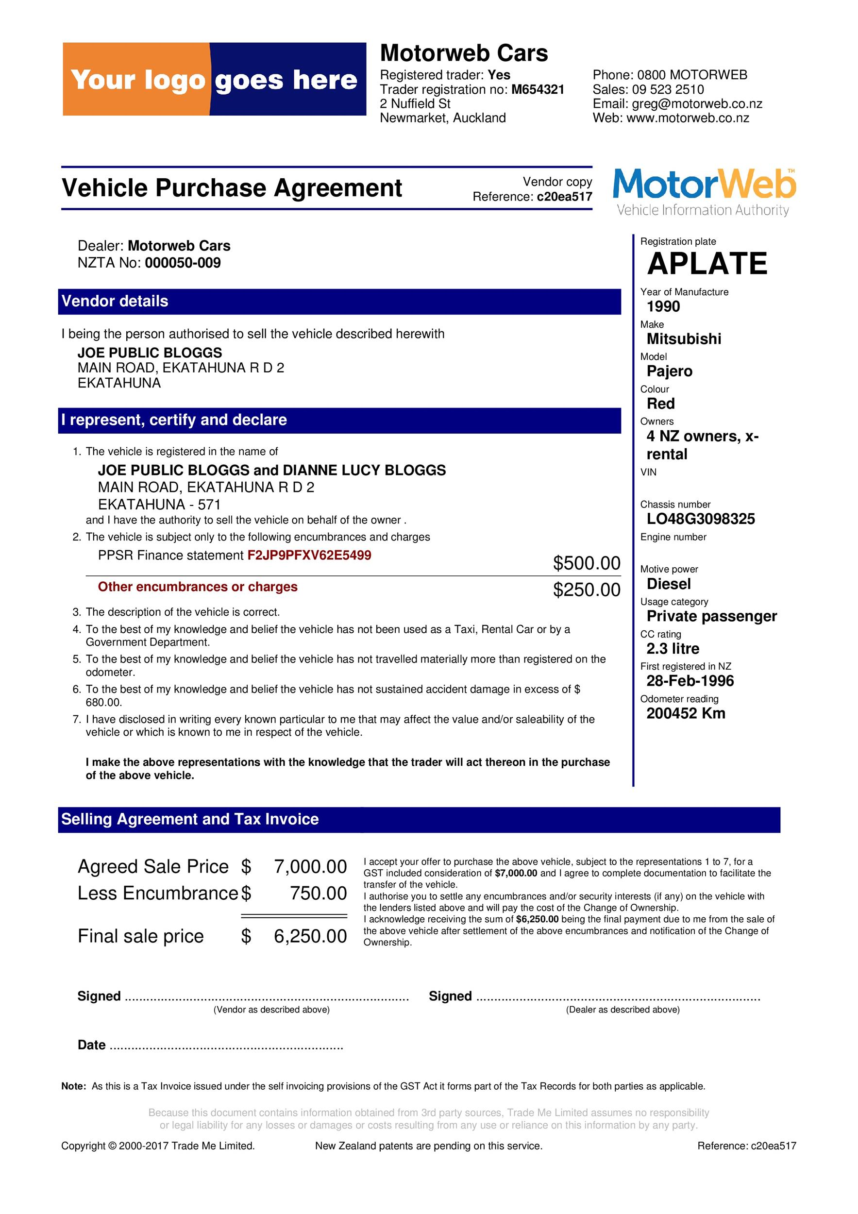 vehicle purchase agreement 16 Template Lab – Vehicle Purchase Agreement