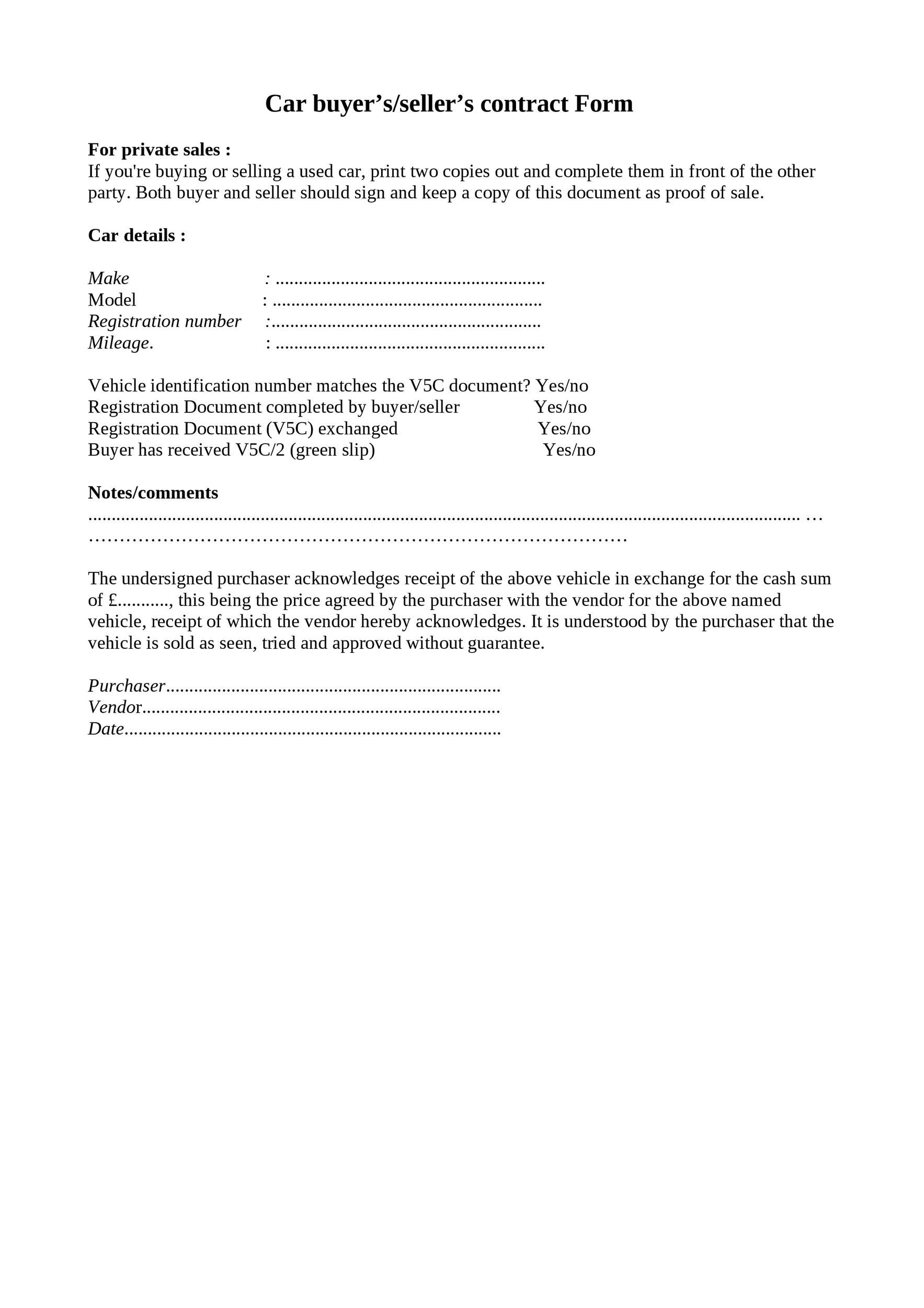 Printable Vehicle Purchase Agreement 20  Private Car Sale Contract Payments