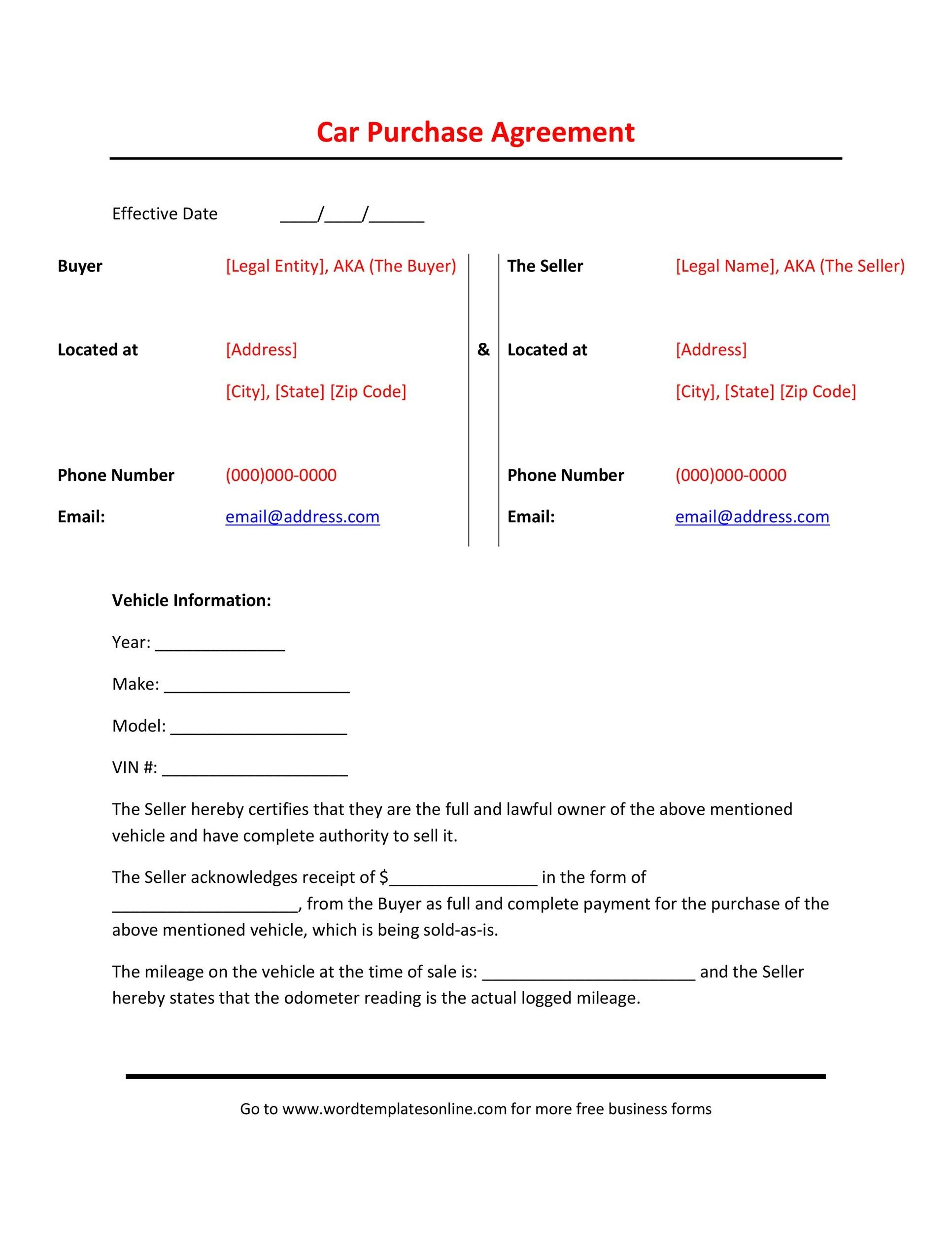 Nice Printable Vehicle Purchase Agreement 23