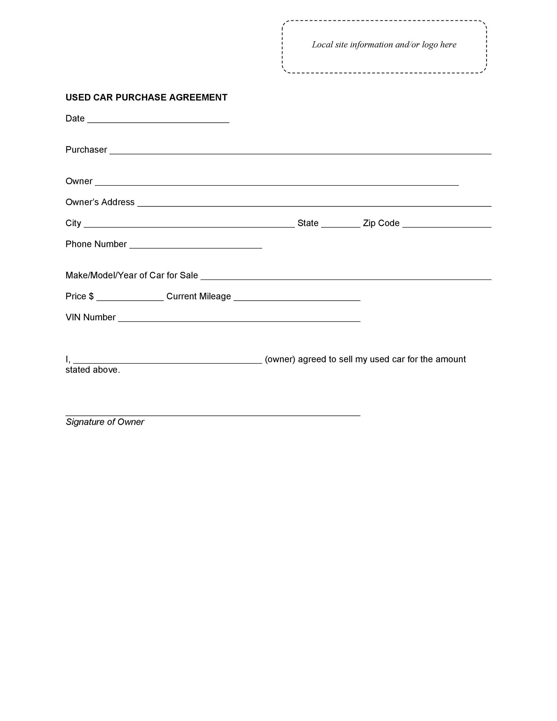 Printable Vehicle Purchase Agreement Templates  Template Lab