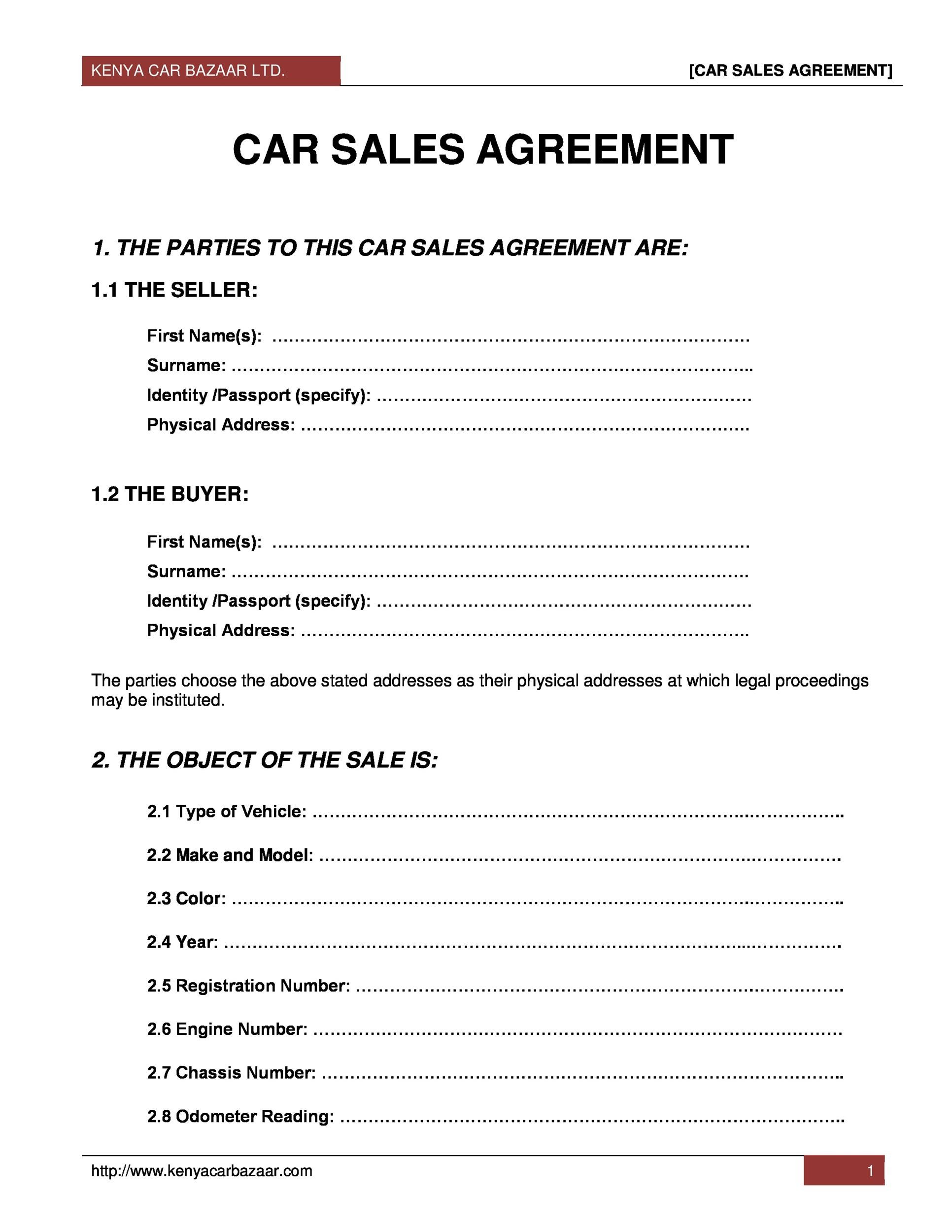42 printable vehicle purchase agreement templates  u1405 template lab