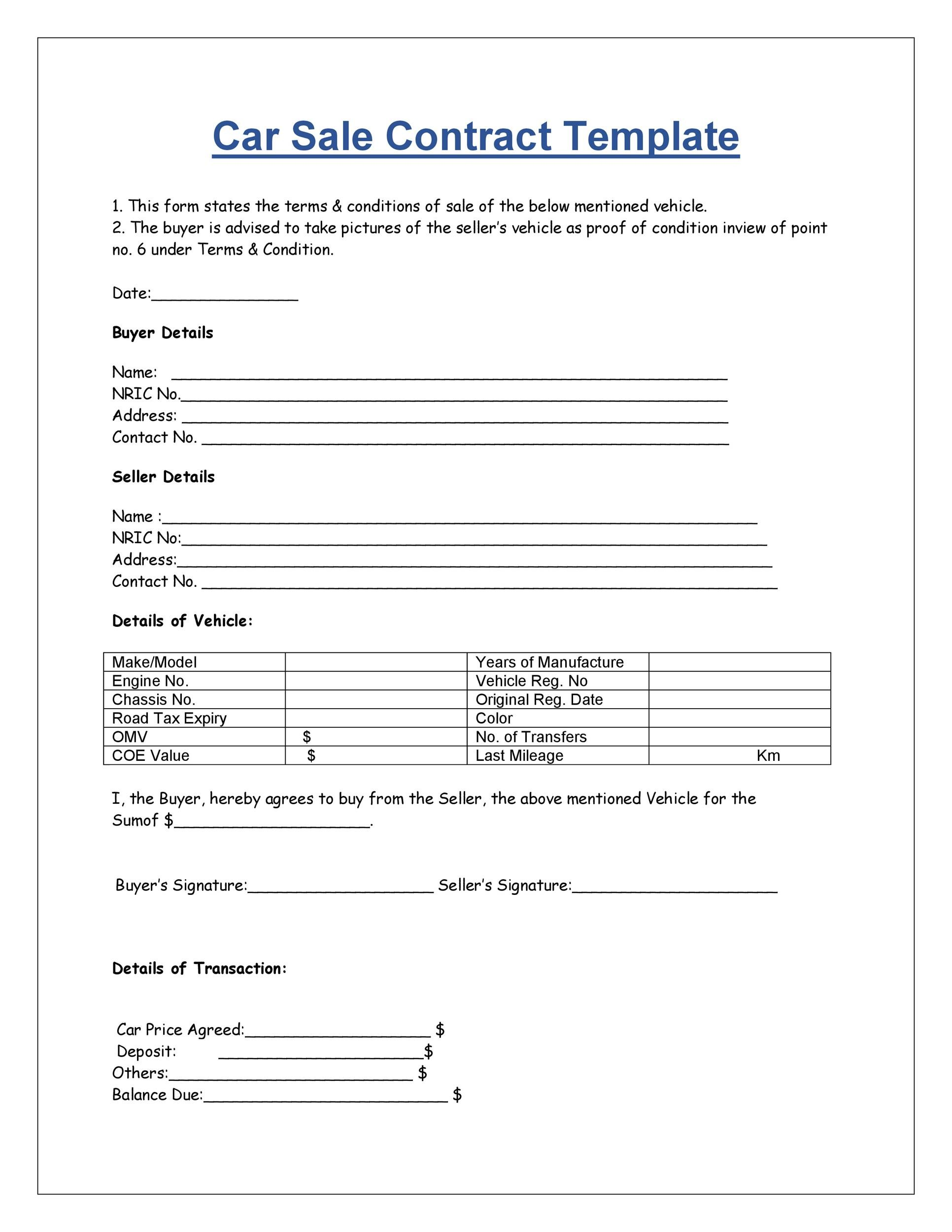 Printable Vehicle Purchase Agreement 28  Private Car Sale Contract Payments