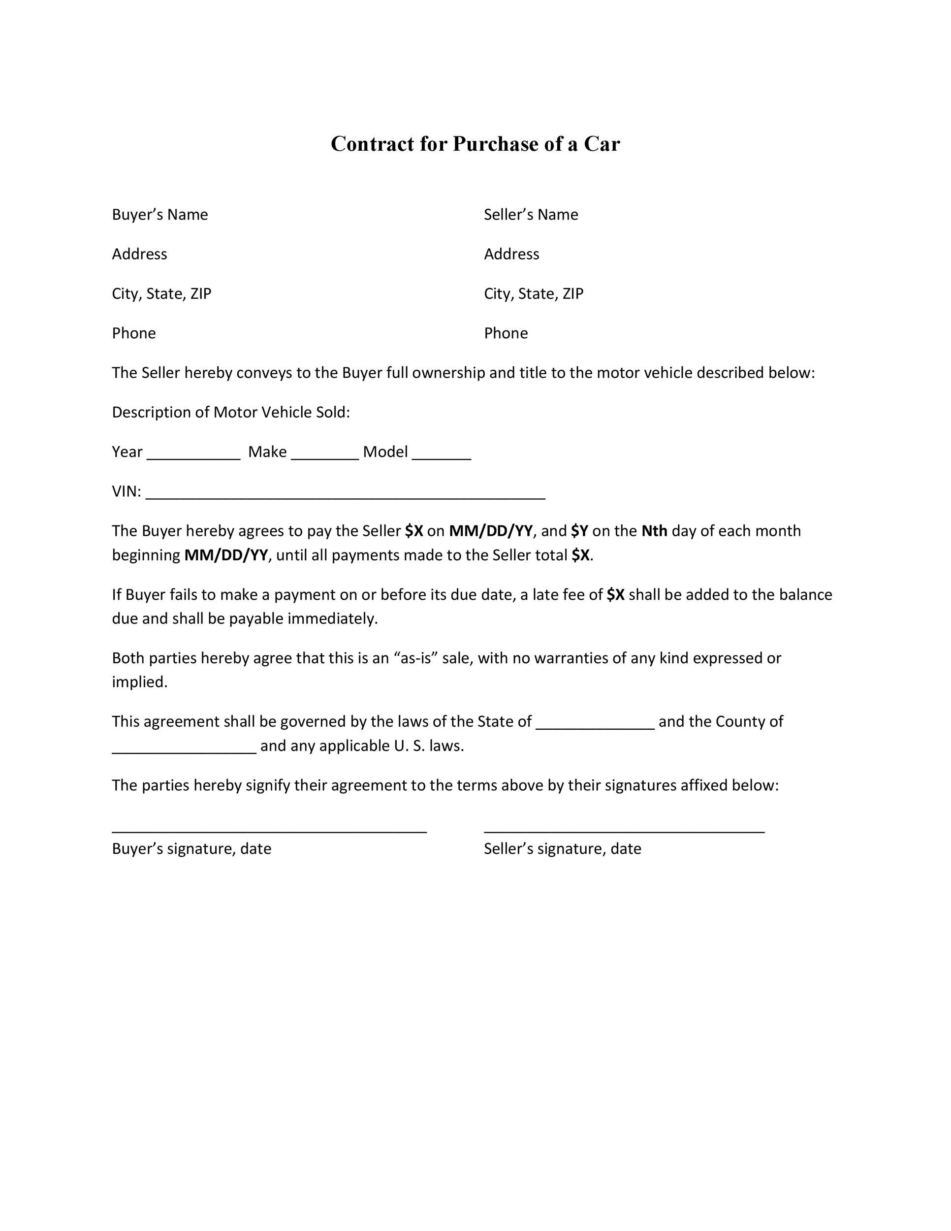 Printable Vehicle Purchase Agreement 29  Car Purchase Agreement With Payments