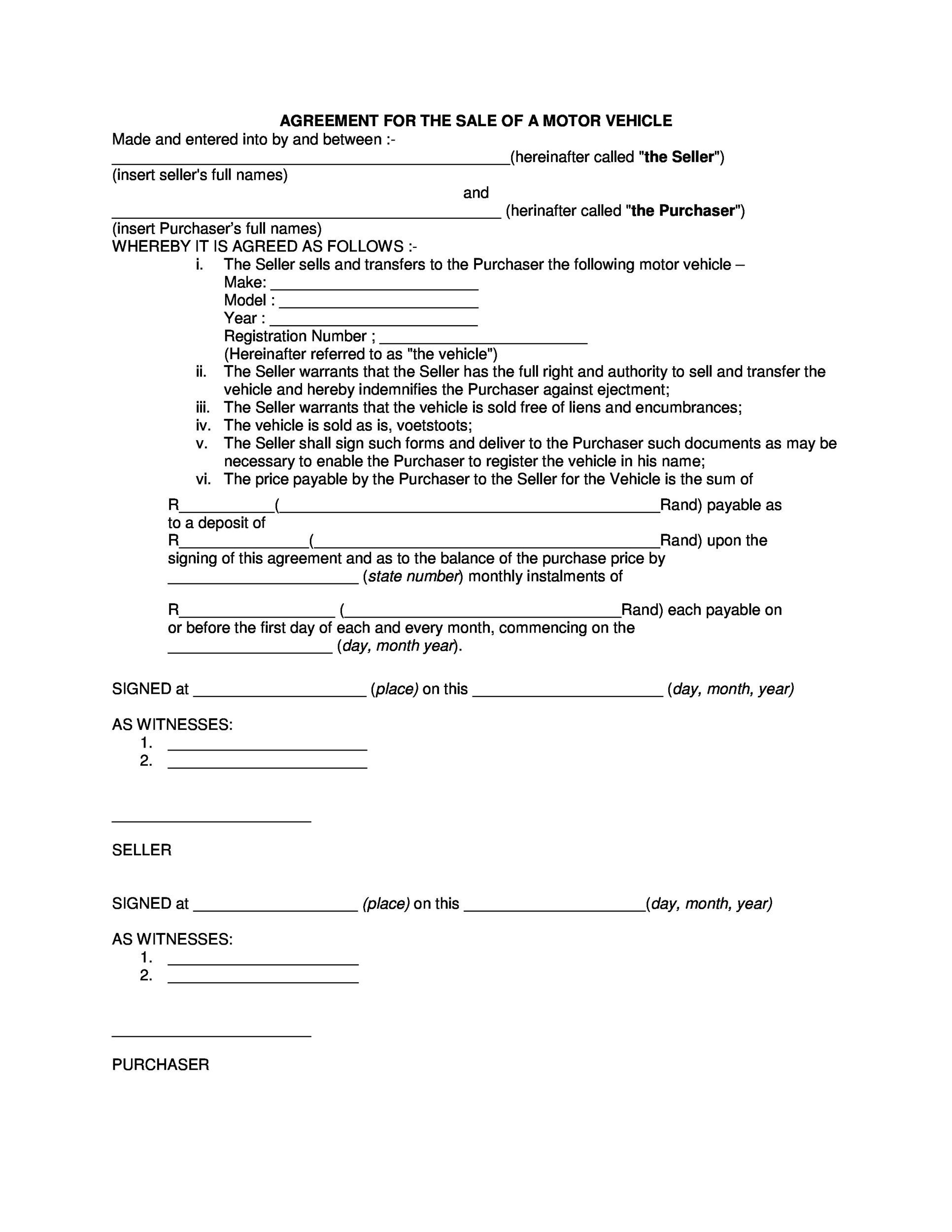 Free vehicle purchase agreement 34