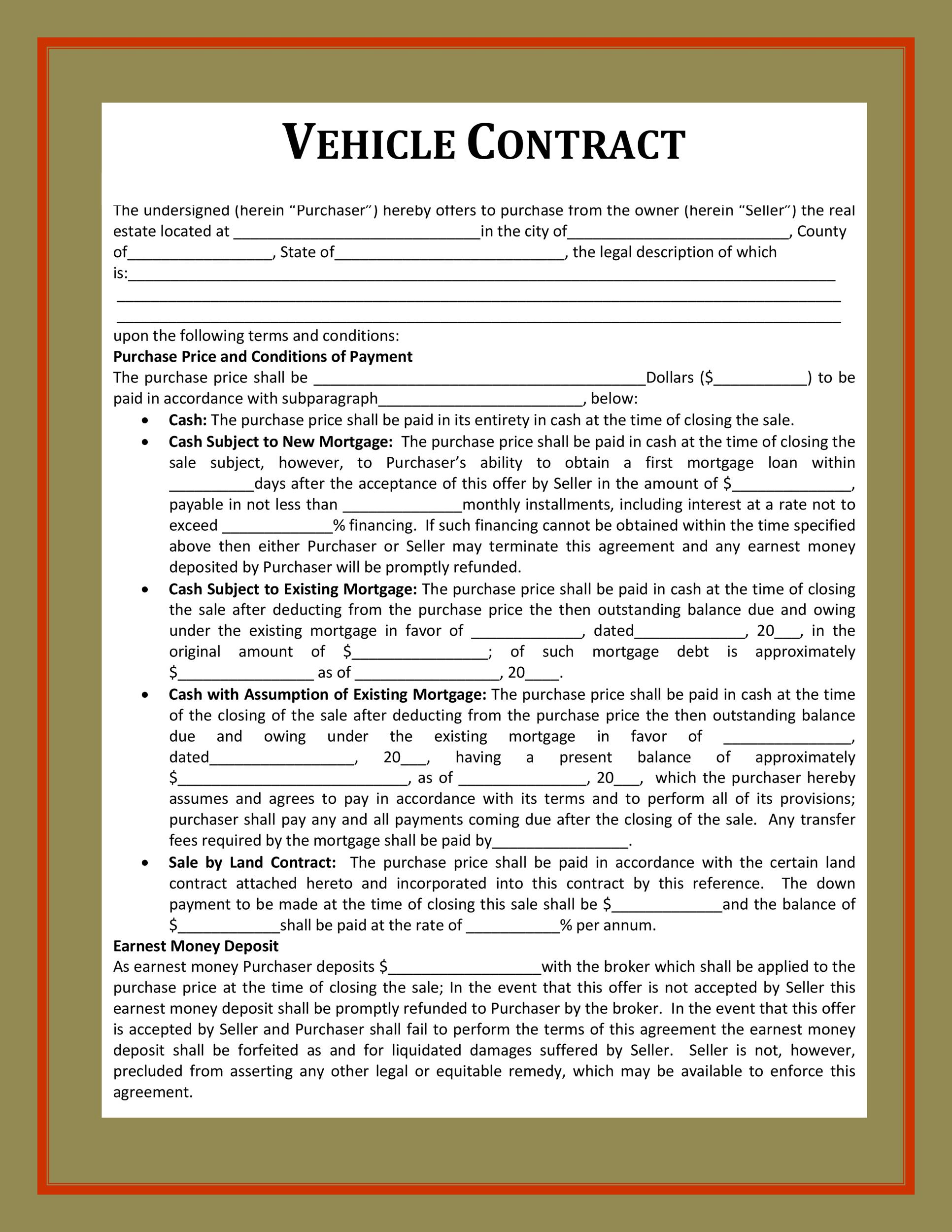 vehicle purchase agreement 40 Template Lab – Vehicle Purchase Agreement