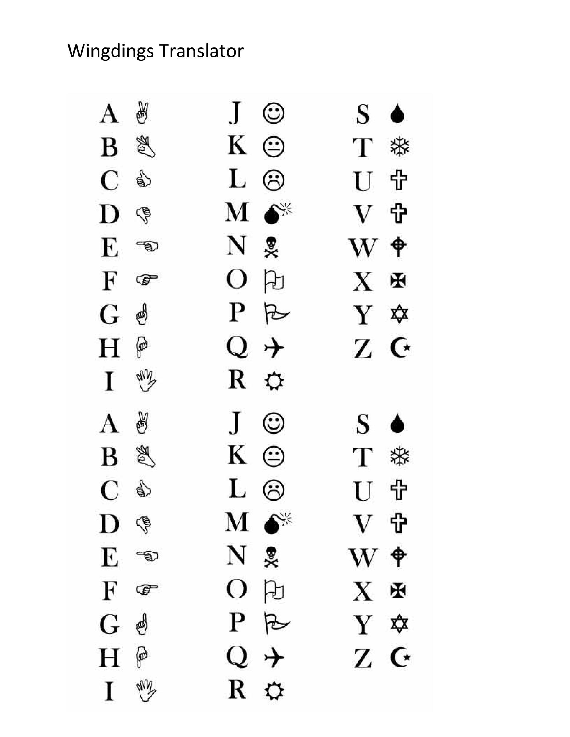 Wingdings Chart Finally A Printable Character Map Of The Wingdings