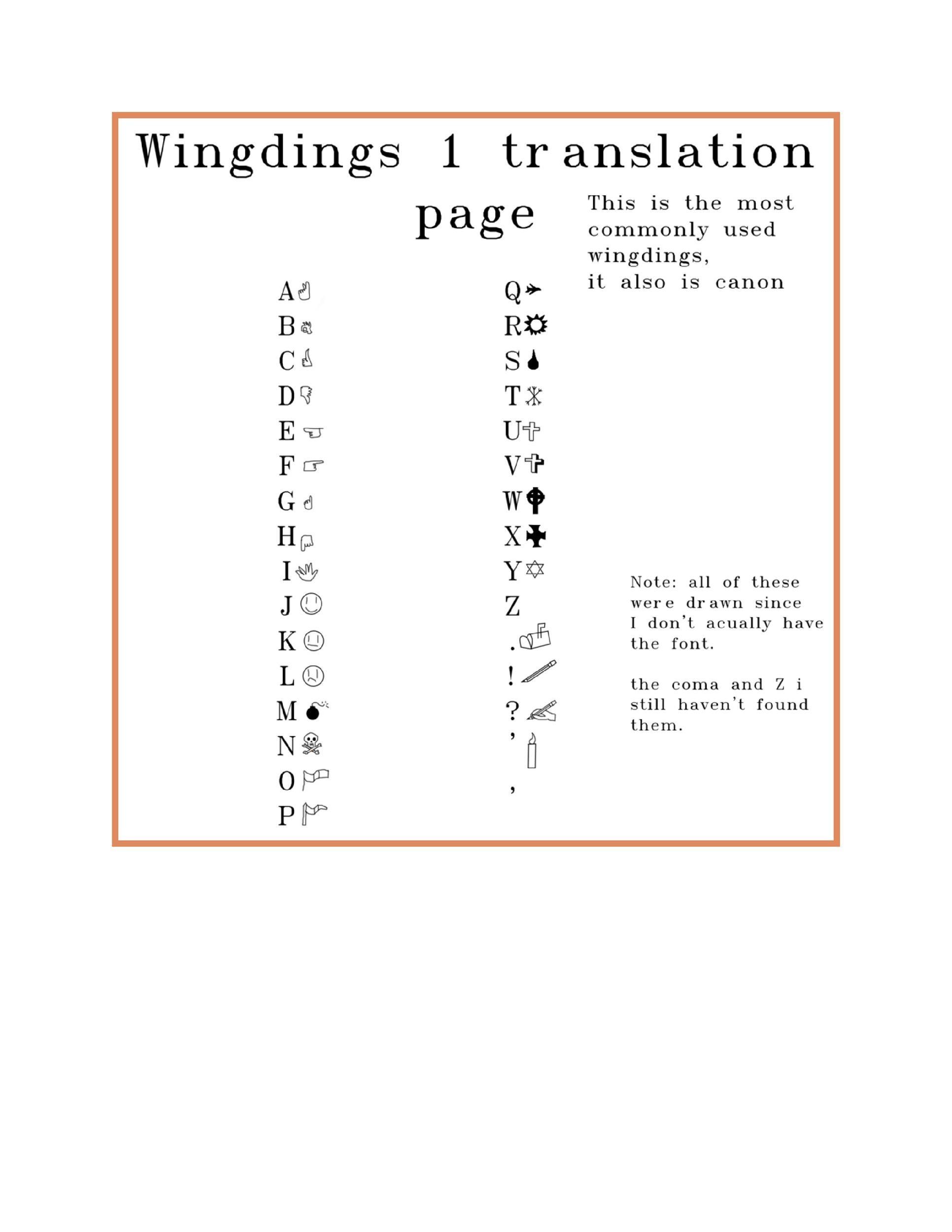Free wingdings translator template 10