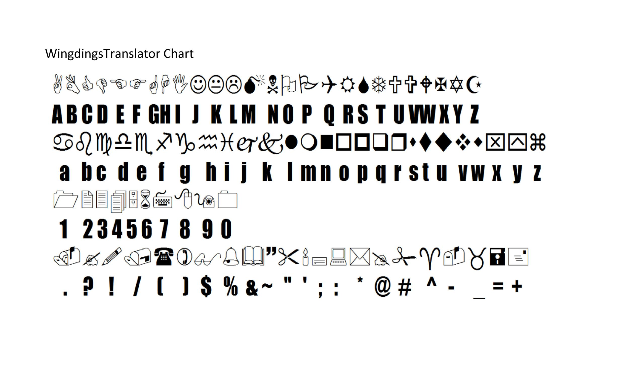 Free wingdings translator template 13