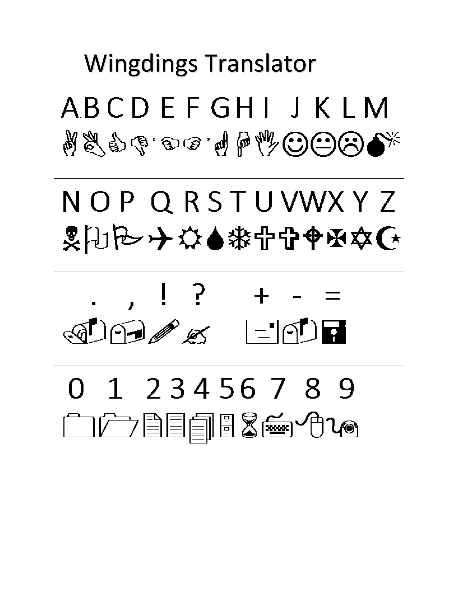 Free wingdings translator template 20