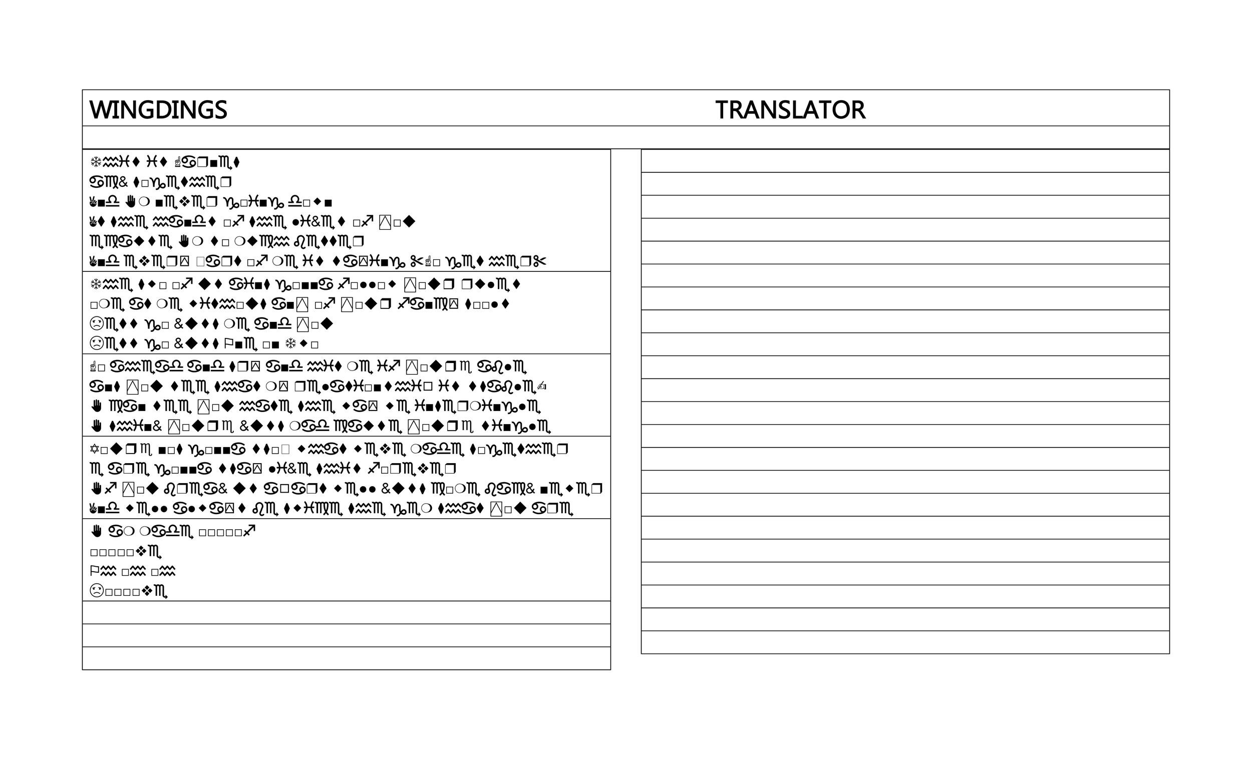Free wingdings translator template 21