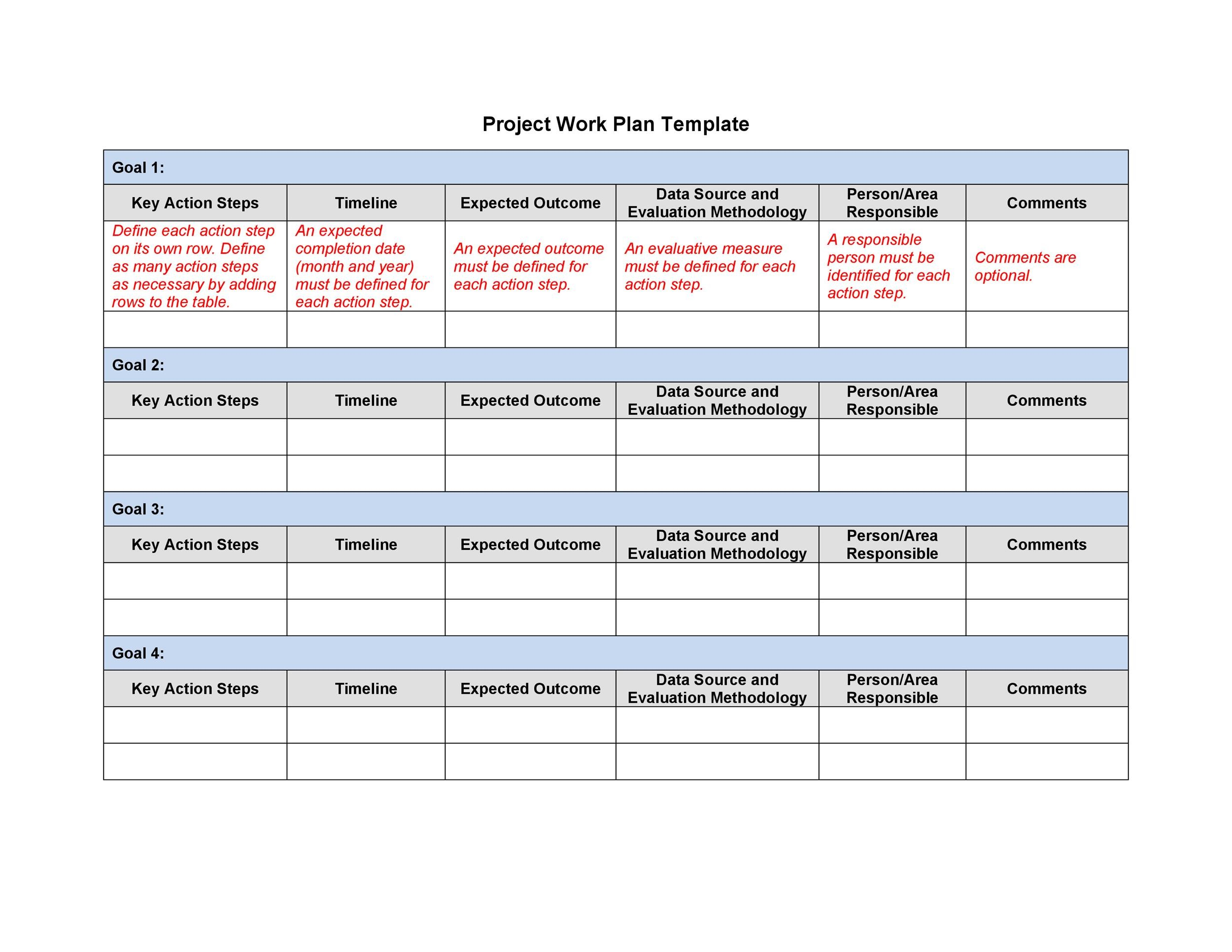 Free work plan template 01