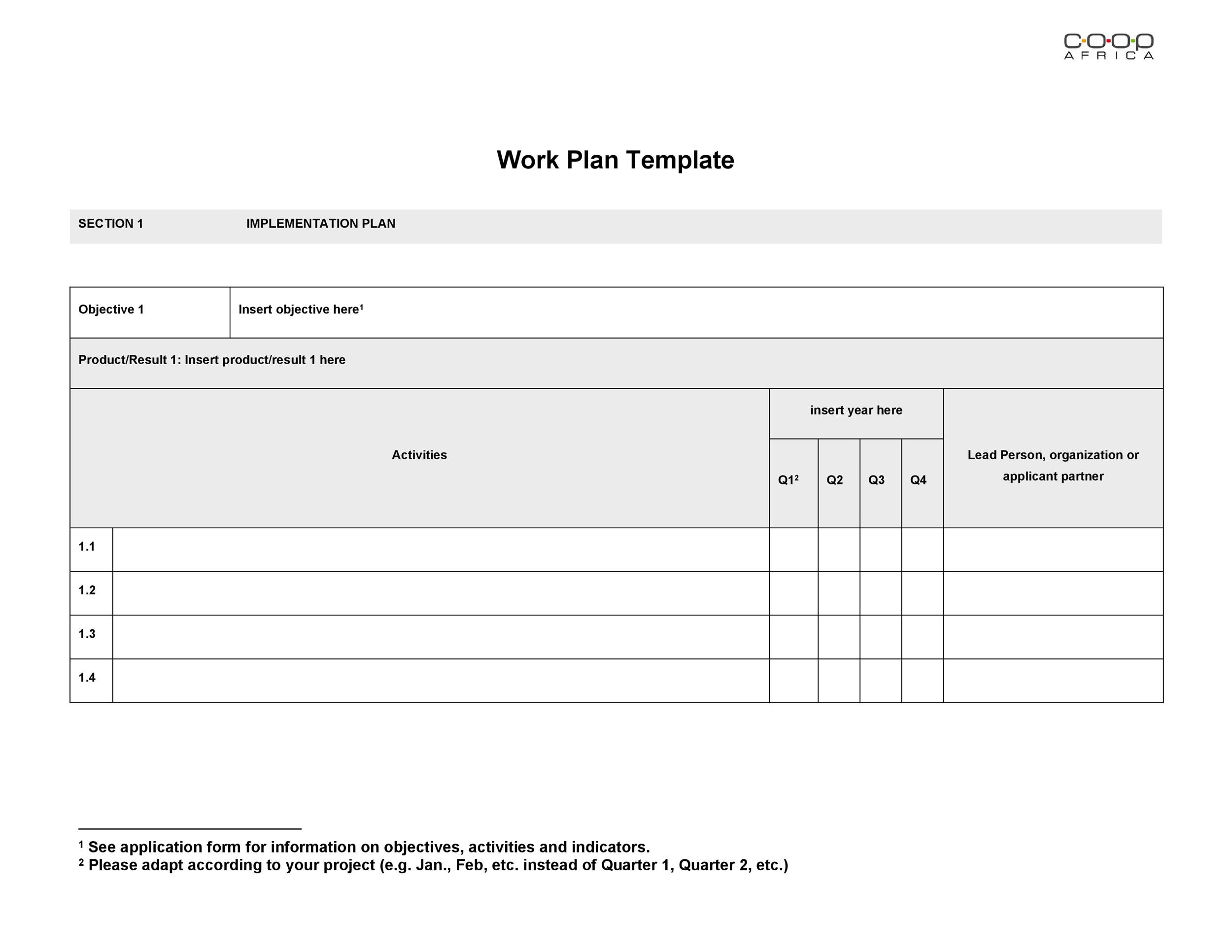 Free work plan template 04