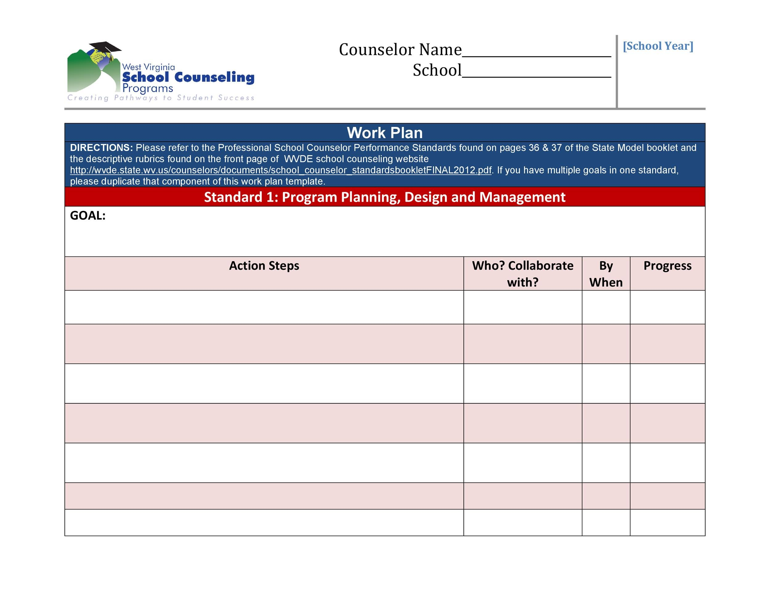 Free work plan template 10