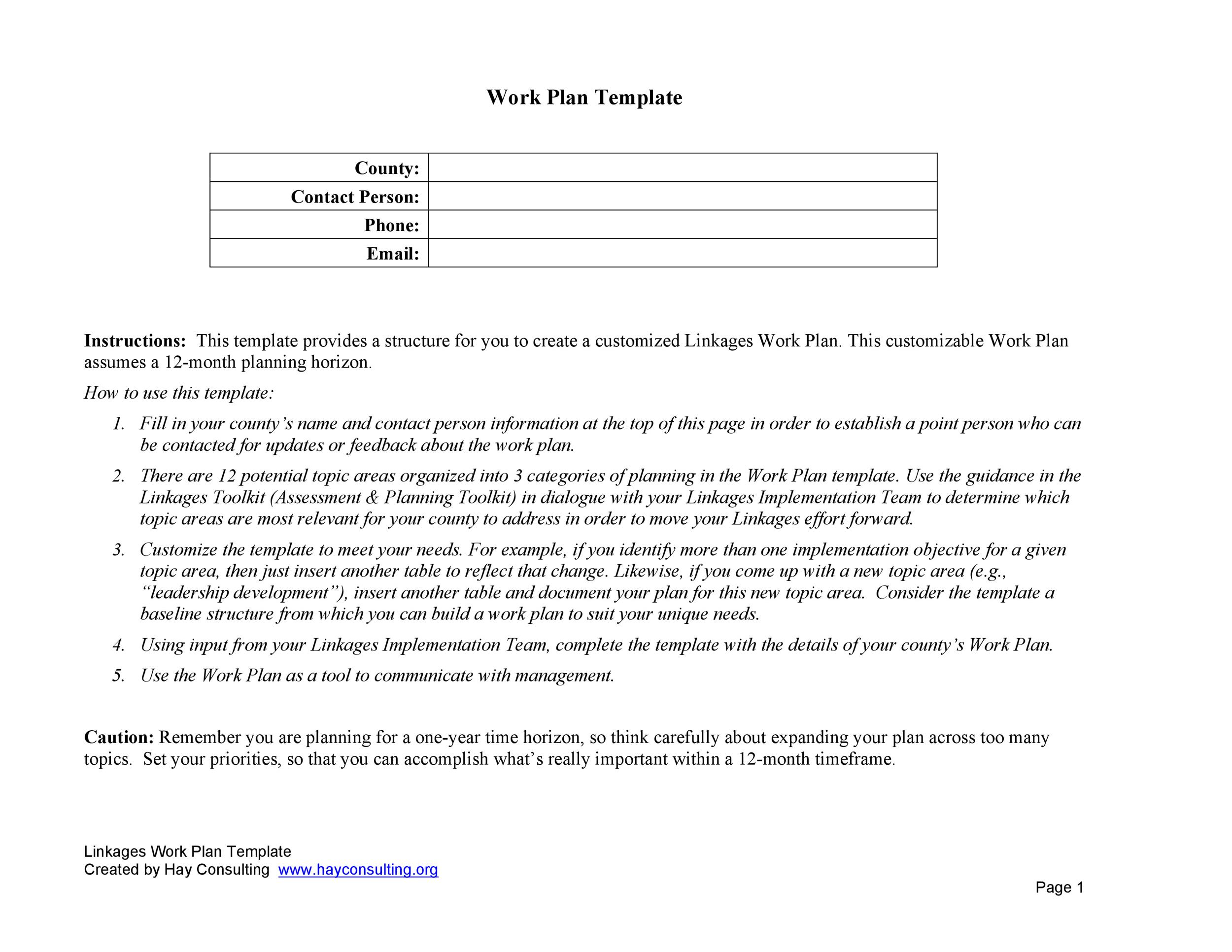 Free work plan template 16