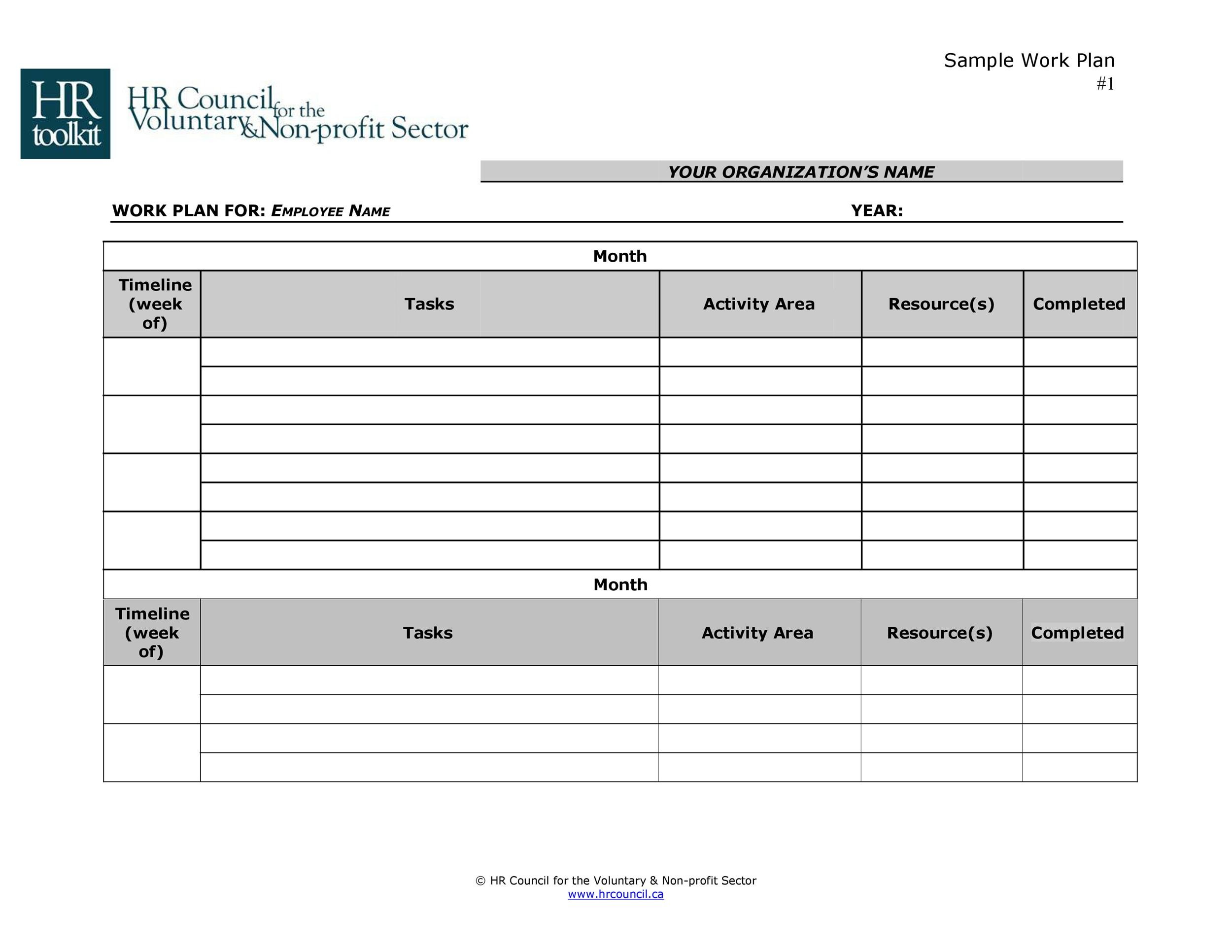 Free work plan template 19