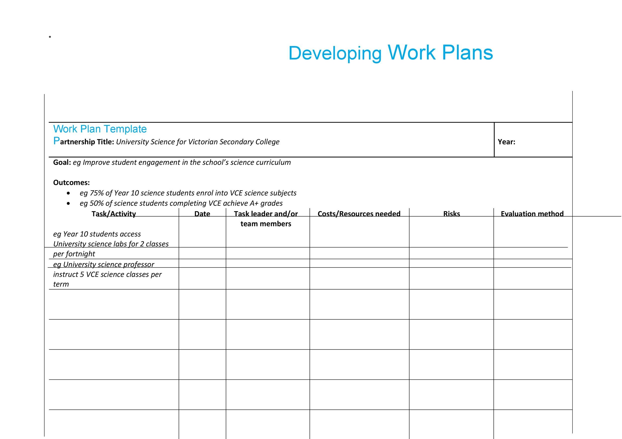 Work Plan   Great Templates  Samples Excel  Word  Template Lab