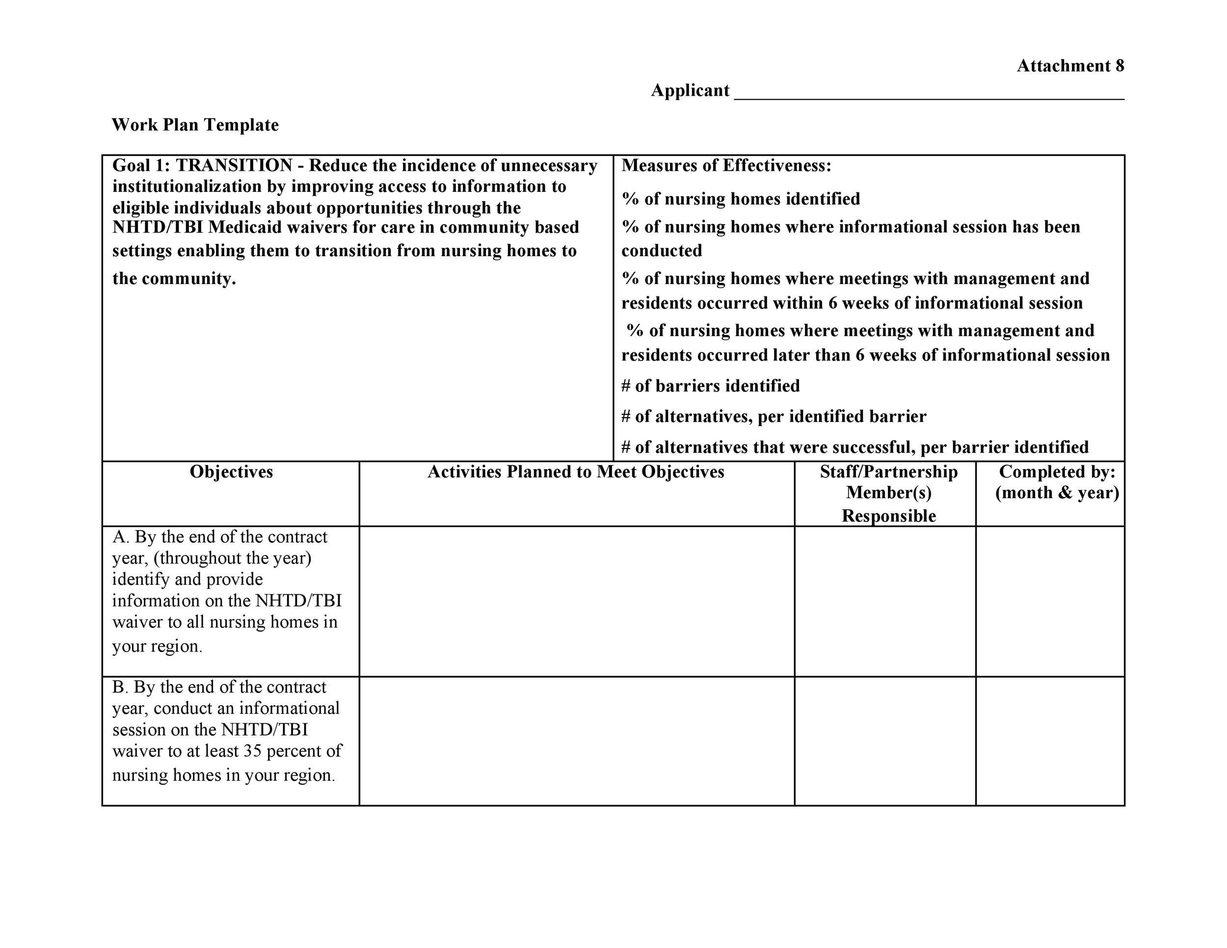 Free work plan template 22
