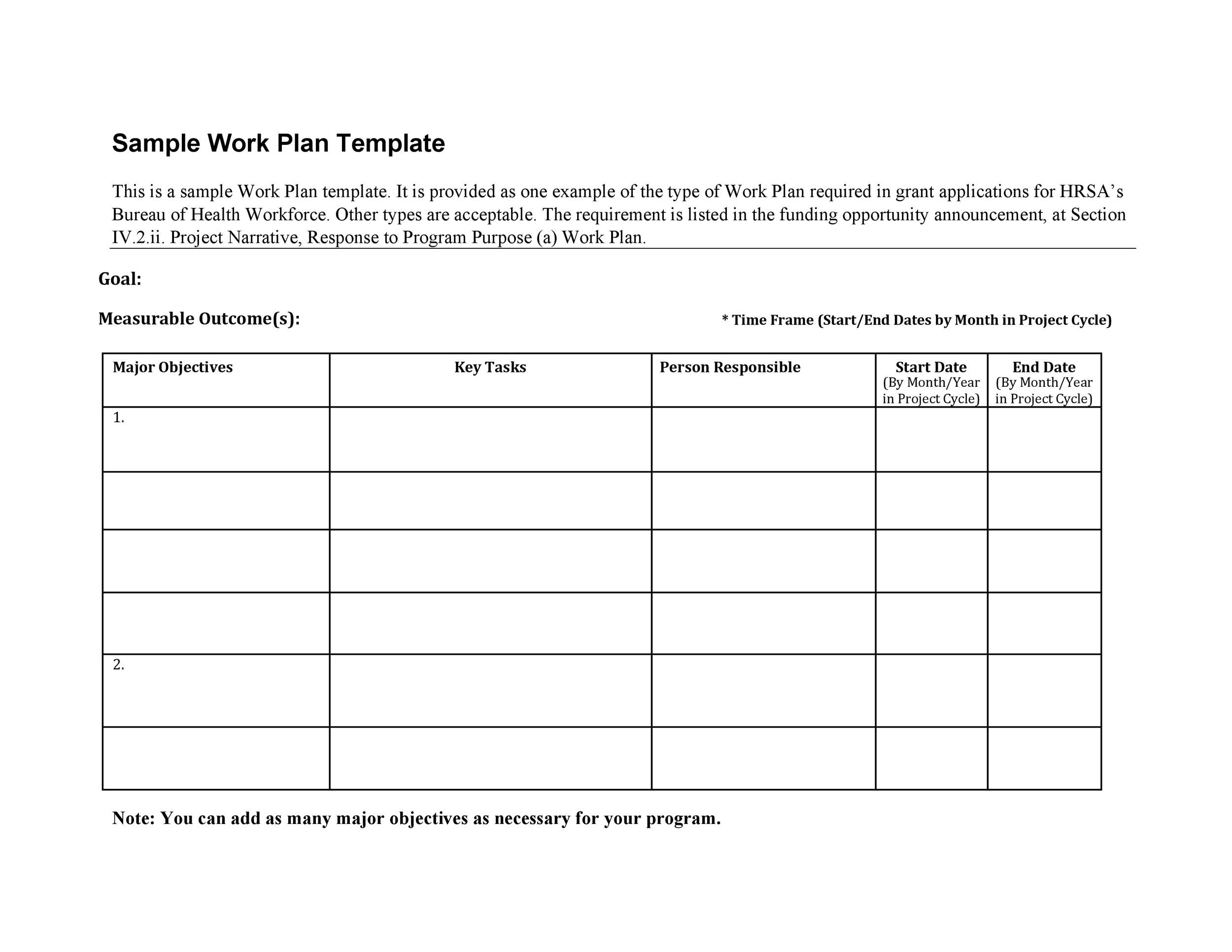 Printable Work Plan Template 27