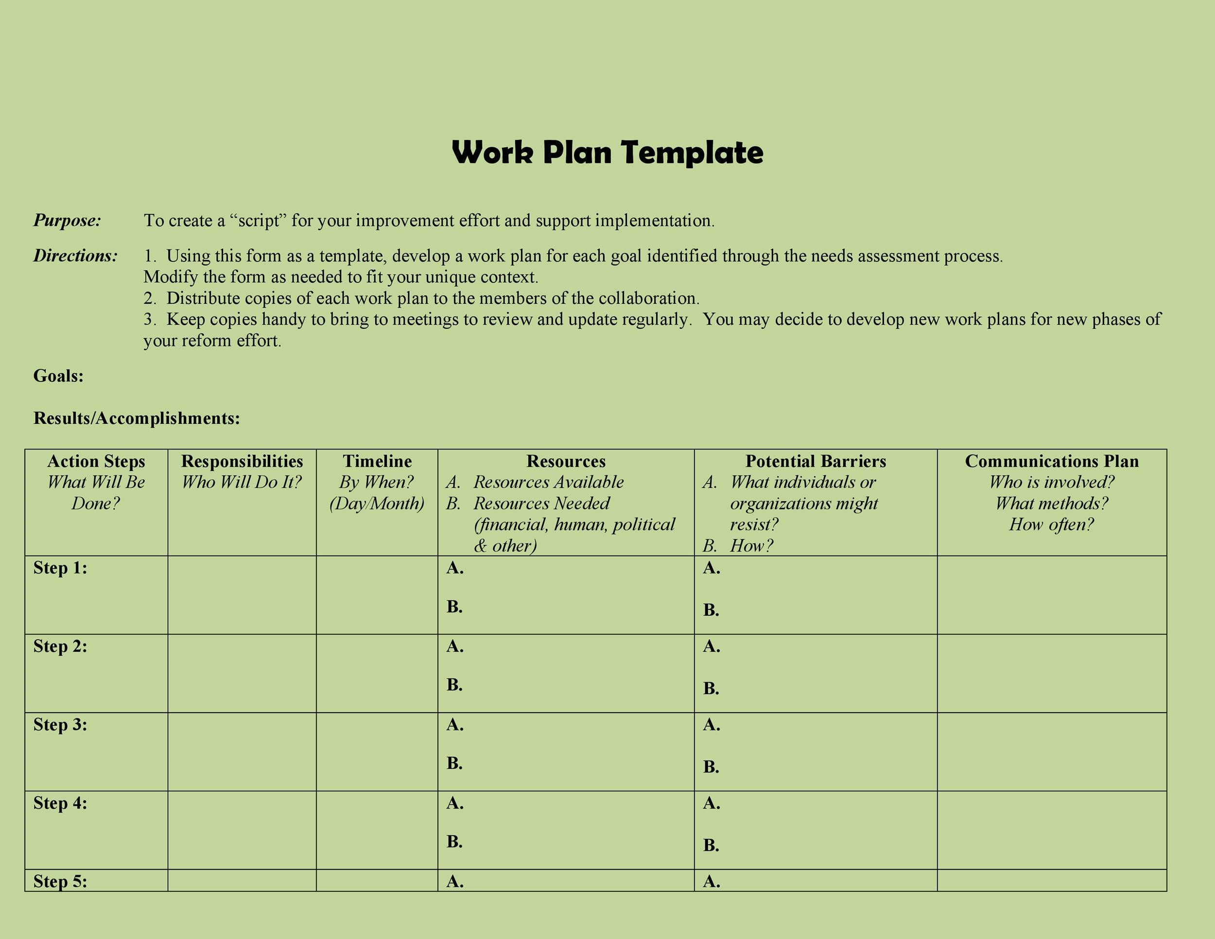 Free work plan template 32