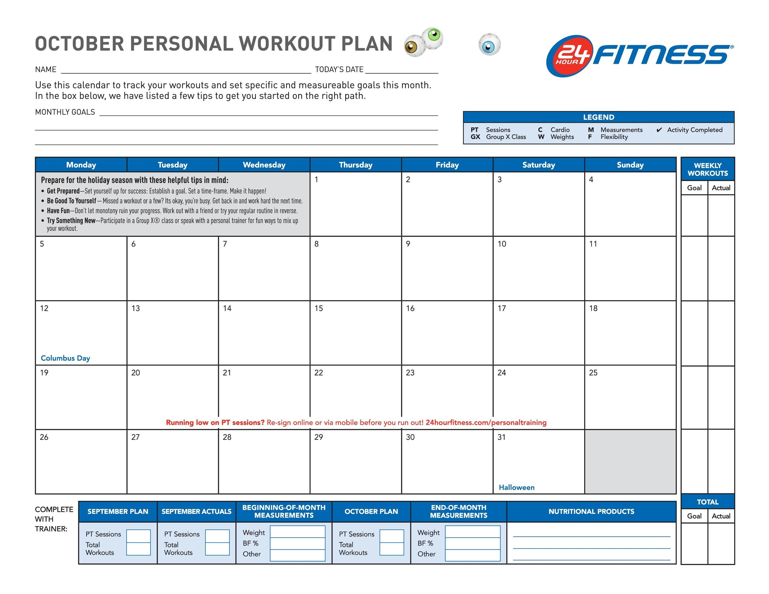 Gym Calendar Template | 40 Effective Workout Log Calendar Templates Template Lab